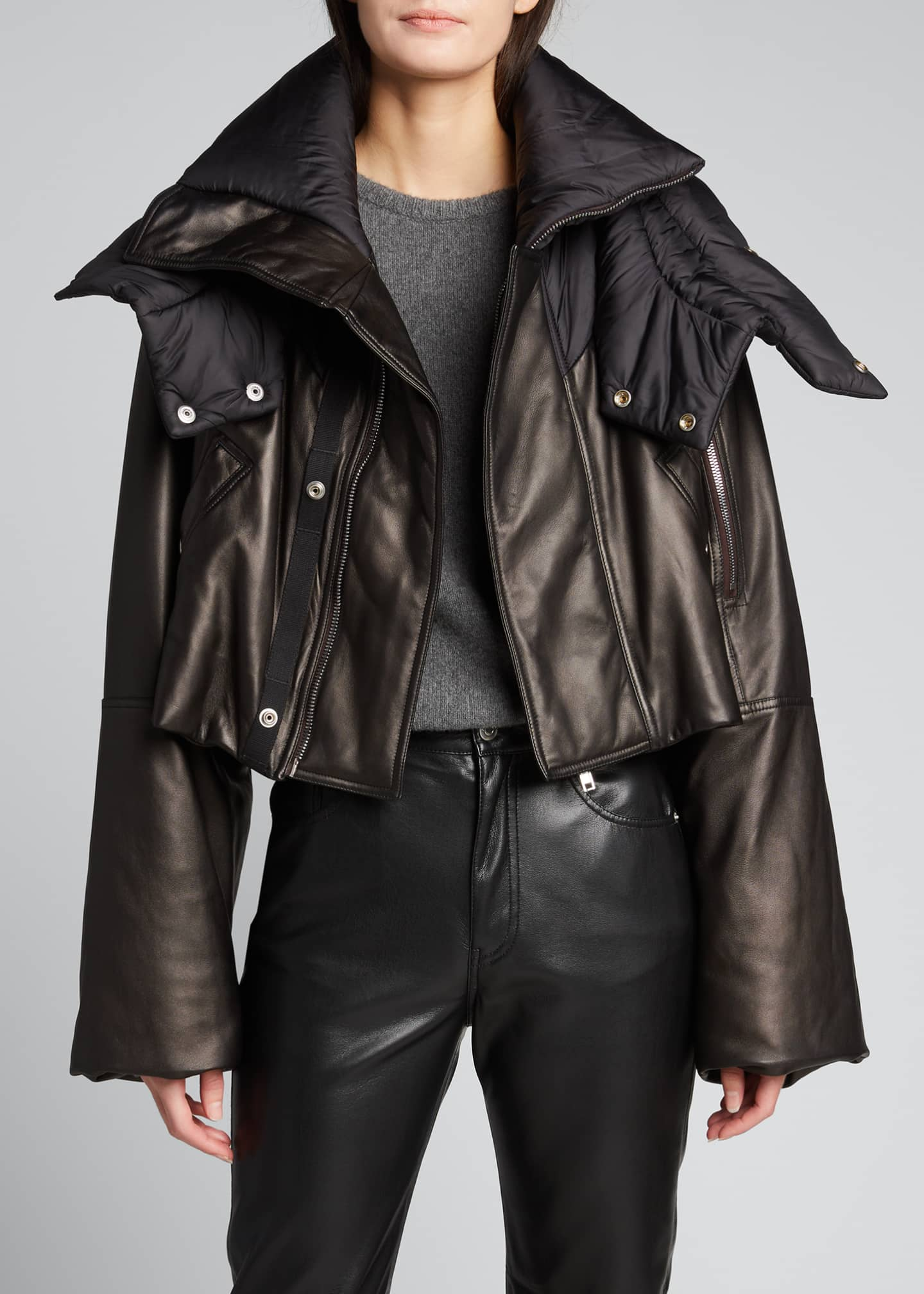 Image 3 of 5: Leather Puffer-Neck Jacket