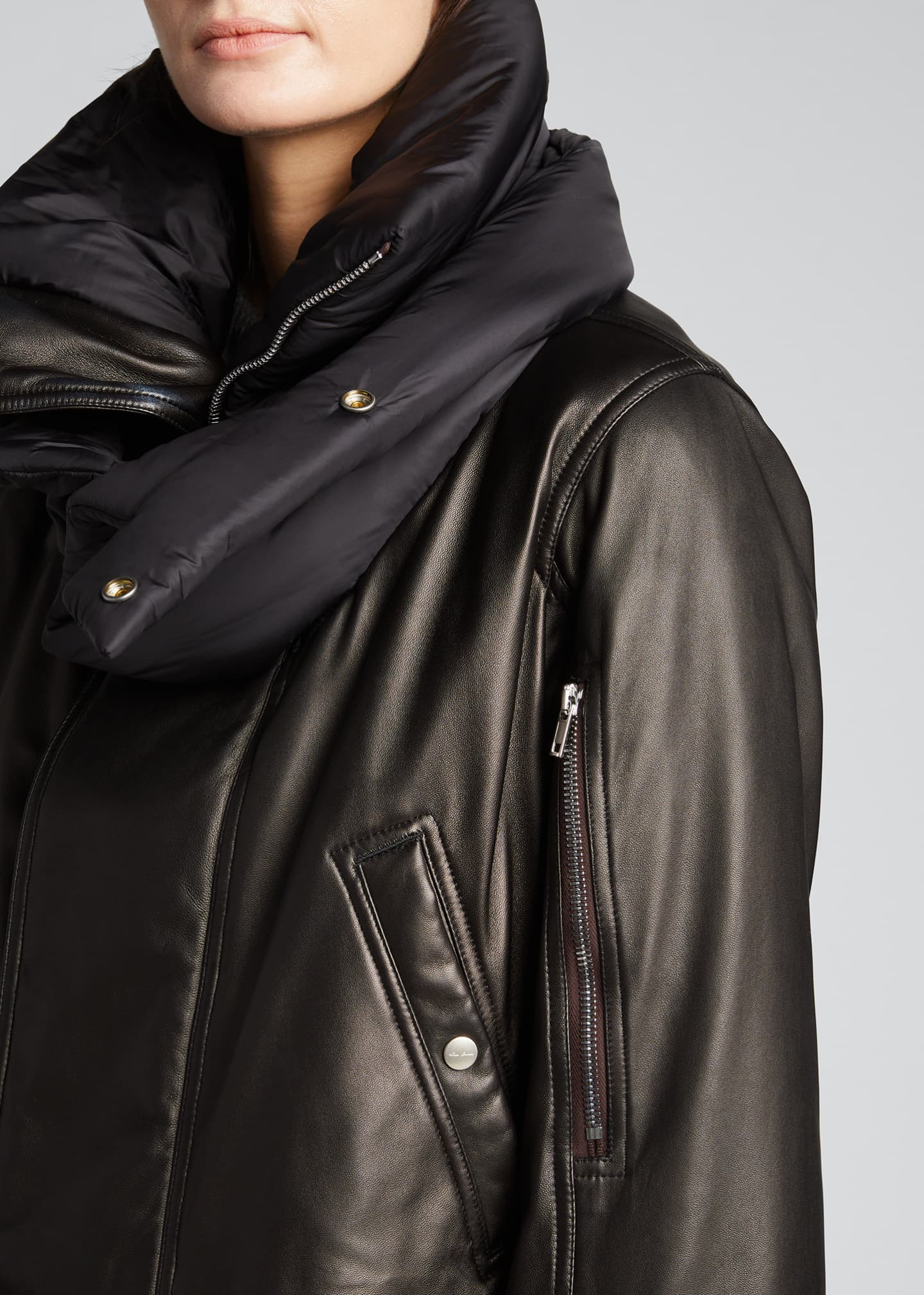 Image 4 of 5: Leather Puffer-Neck Jacket