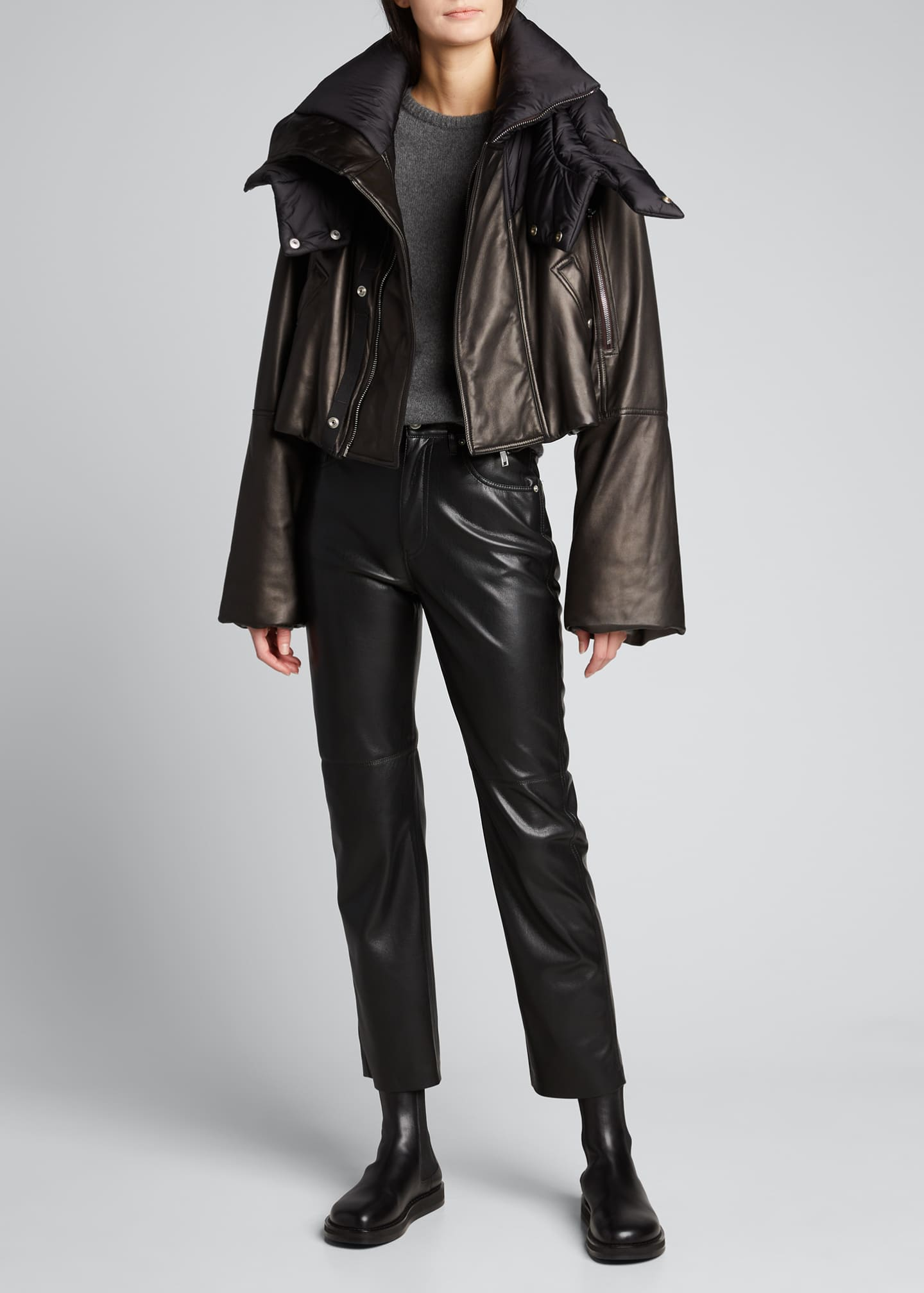 Image 1 of 5: Leather Puffer-Neck Jacket