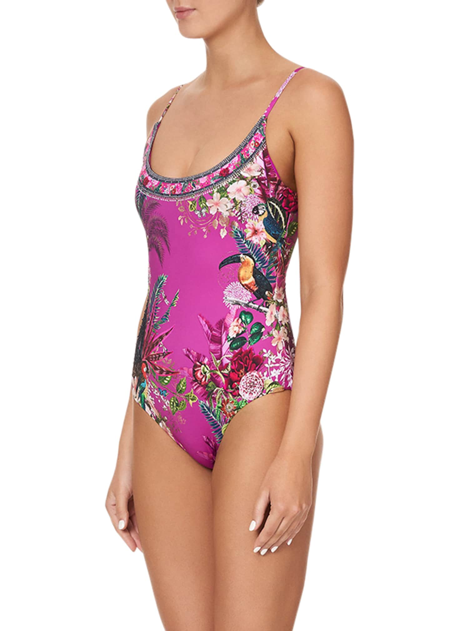 Image 4 of 5: Scoop Neck One-Piece Swimsuit