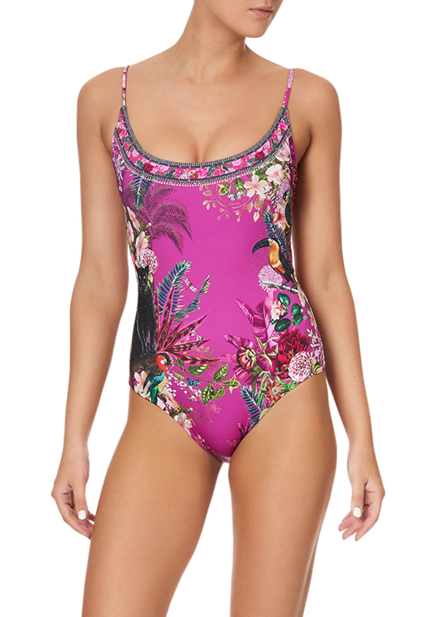 Image 1 of 5: Scoop Neck One-Piece Swimsuit