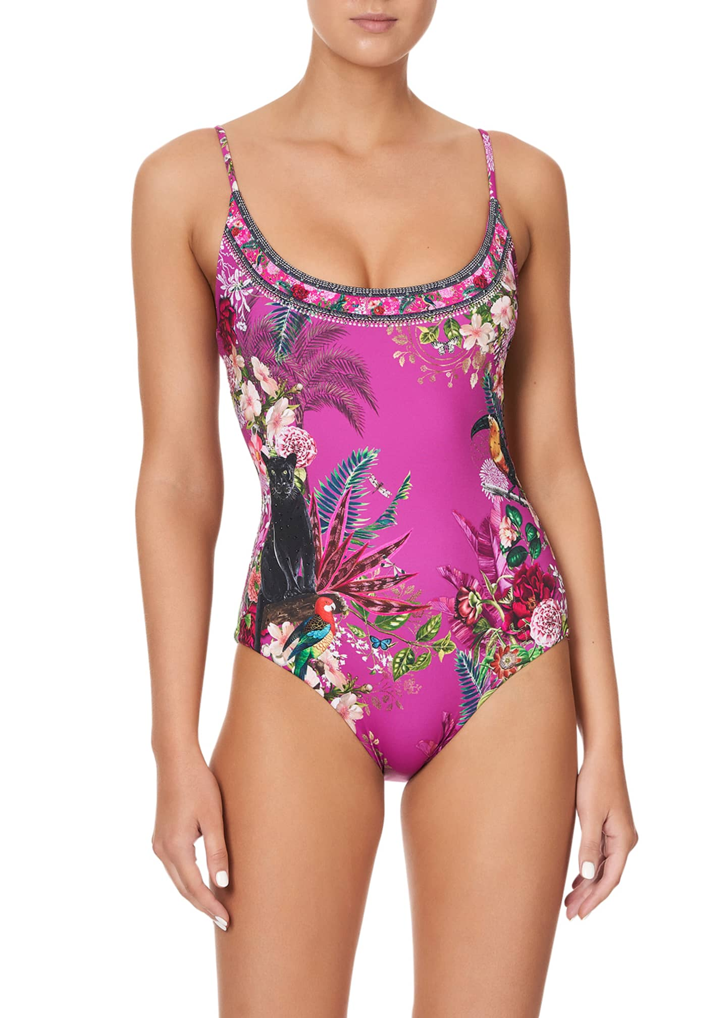 Image 5 of 5: Scoop Neck One-Piece Swimsuit