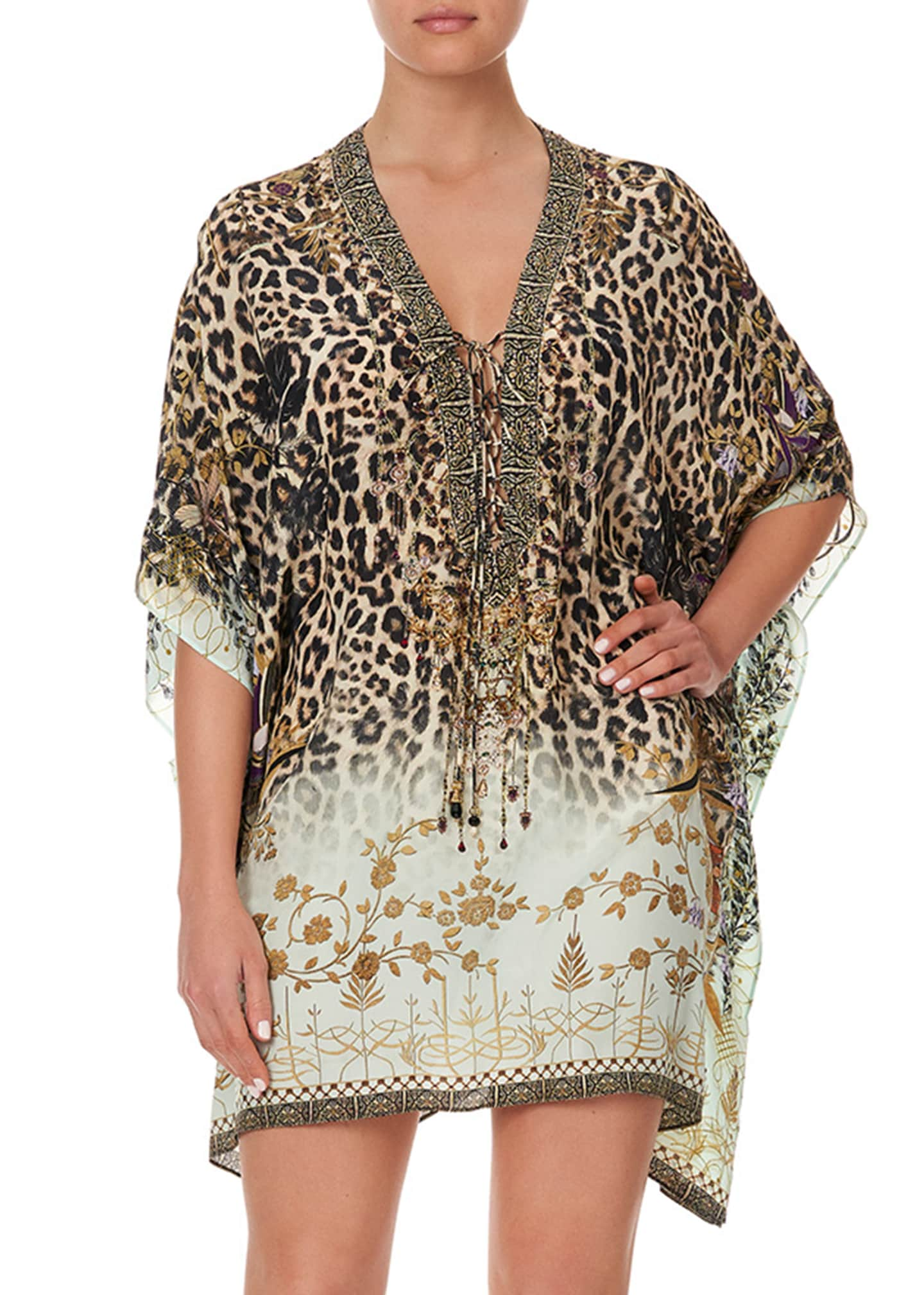 Image 2 of 5: Silk Lace-Up Kaftan