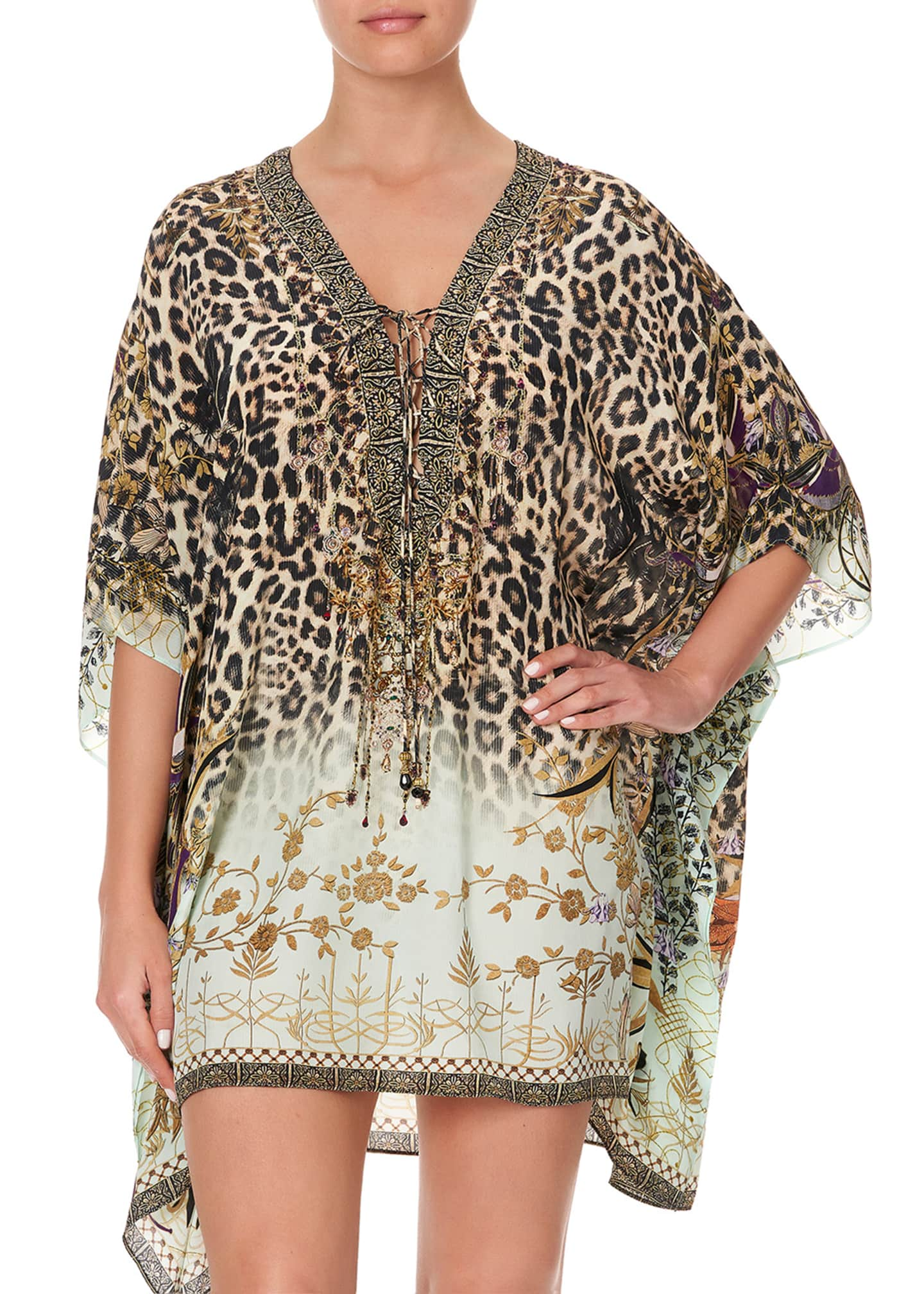 Image 5 of 5: Silk Lace-Up Kaftan