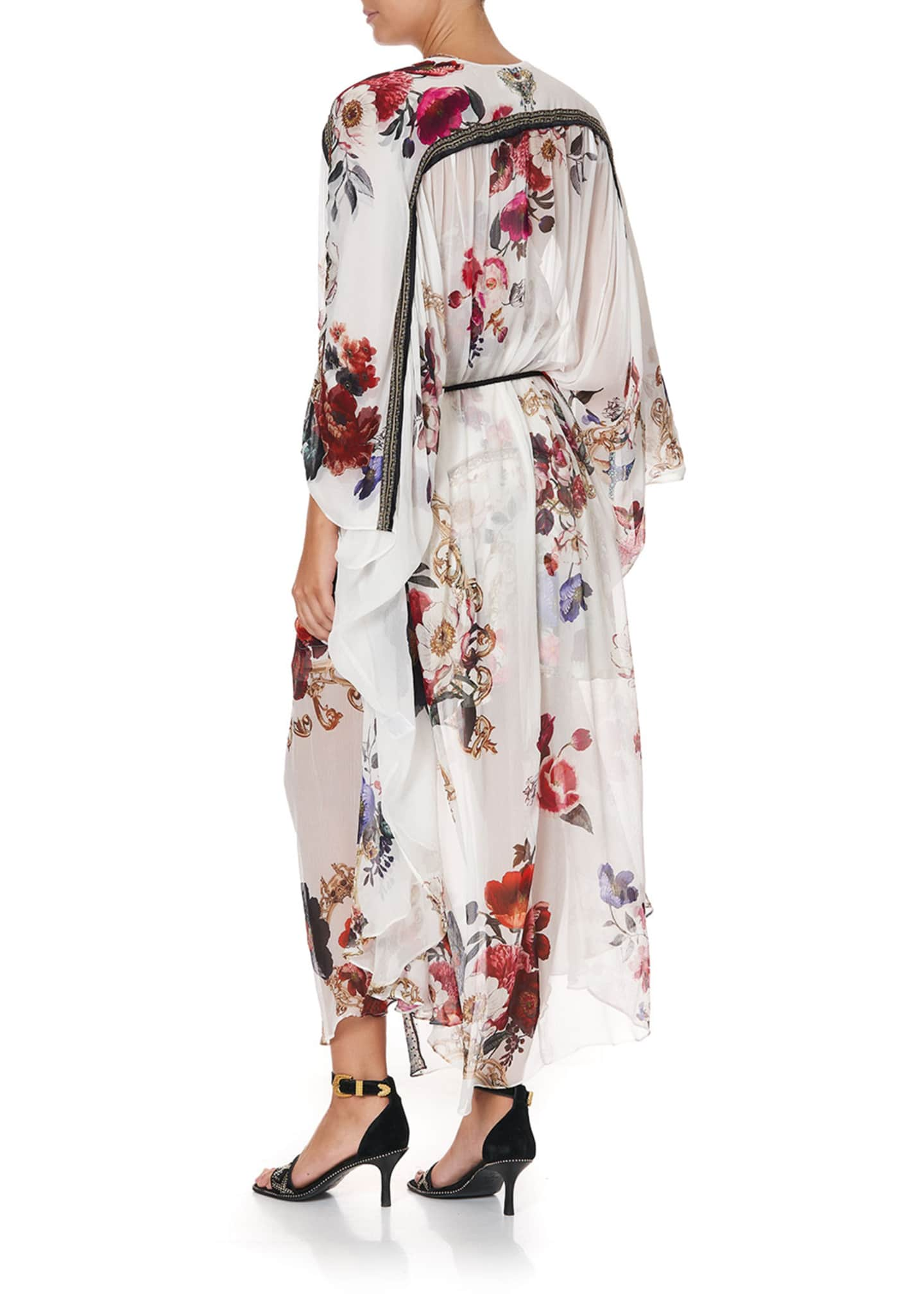 Image 2 of 5: Floral Print Long Silk Coverup w/ Gather Detail