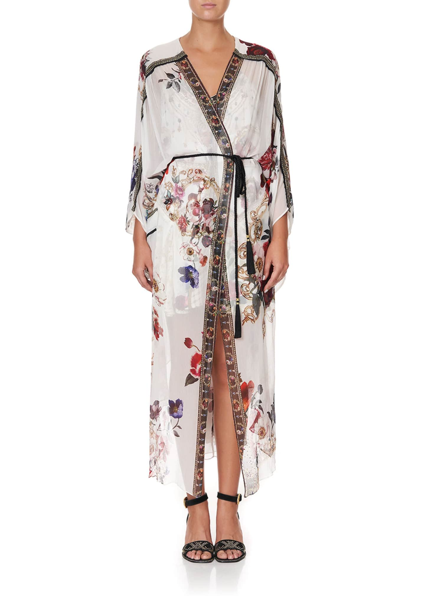 Image 3 of 5: Floral Print Long Silk Coverup w/ Gather Detail