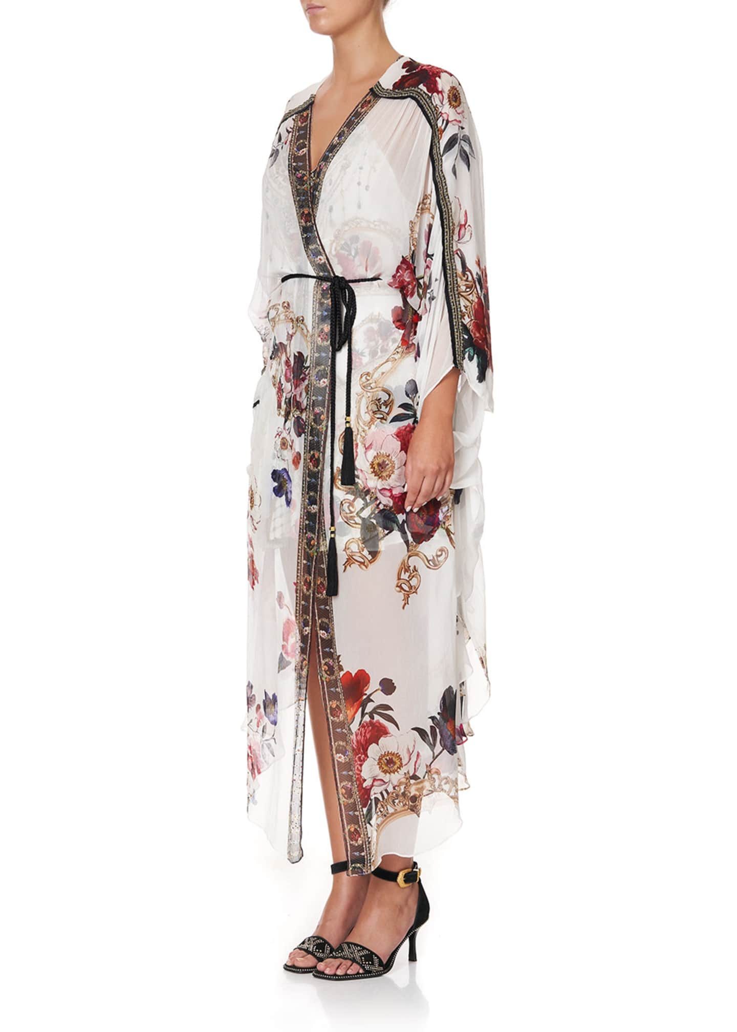 Image 4 of 5: Floral Print Long Silk Coverup w/ Gather Detail