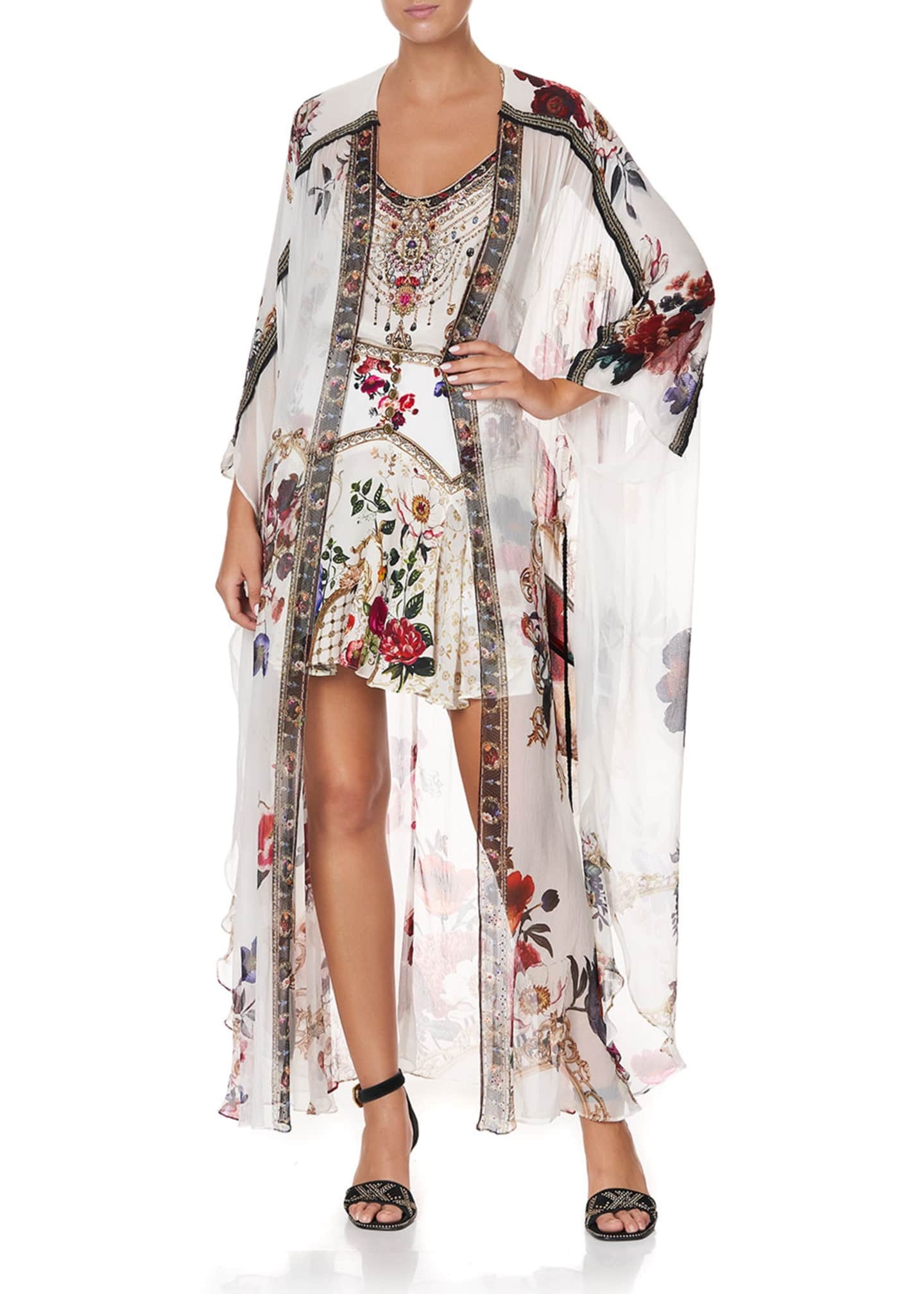 Image 1 of 5: Floral Print Long Silk Coverup w/ Gather Detail