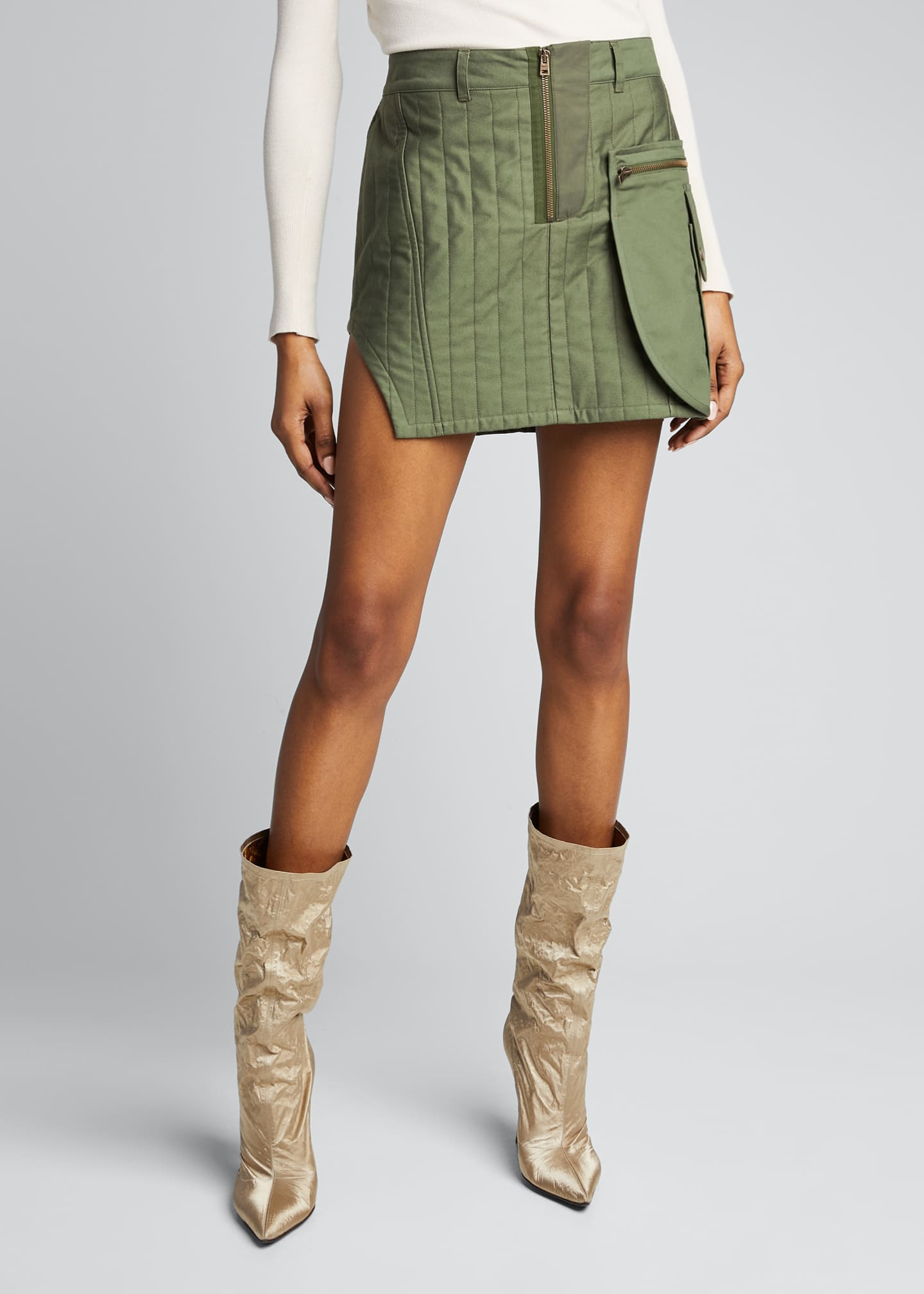 Image 3 of 5: Quilted Cotton Mini Skirt