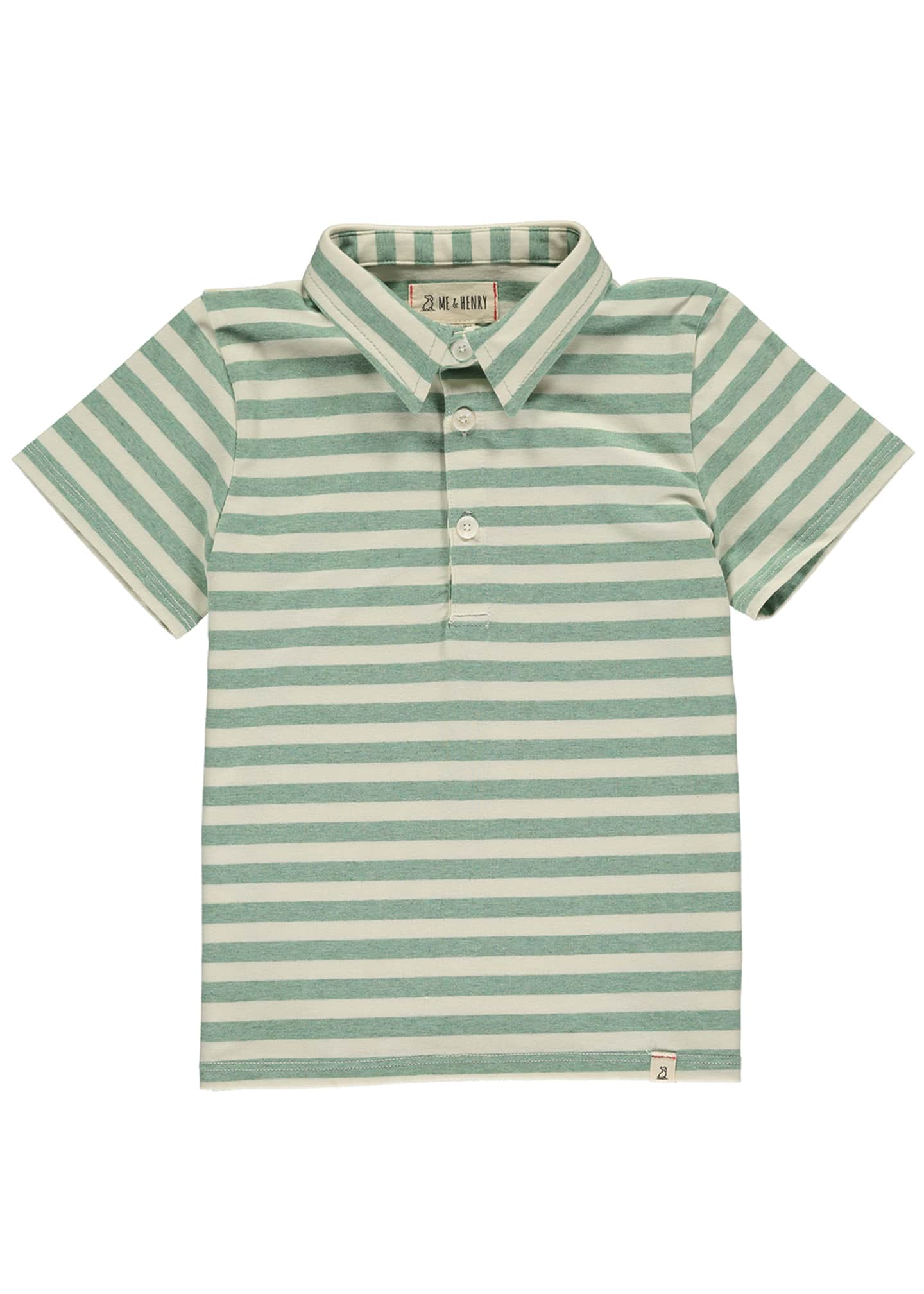 Image 1 of 1: Boy's Striped Polo Shirt w/ Children's Book, Size 3T-10