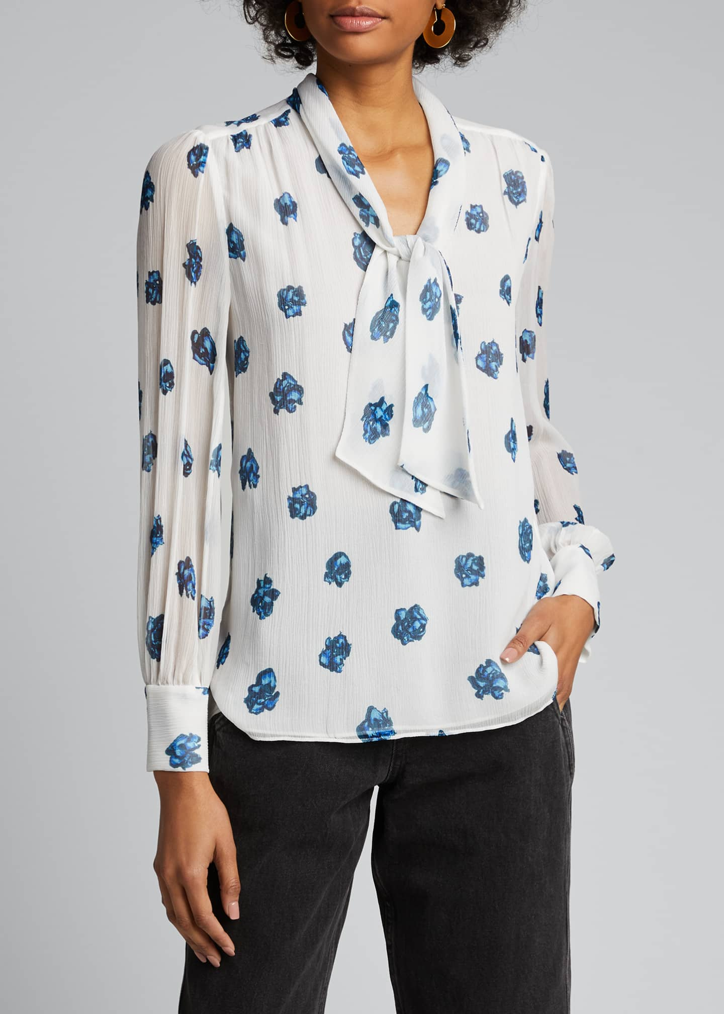 Image 3 of 5: Printed V-Neck Long-Sleeve Tie Blouse