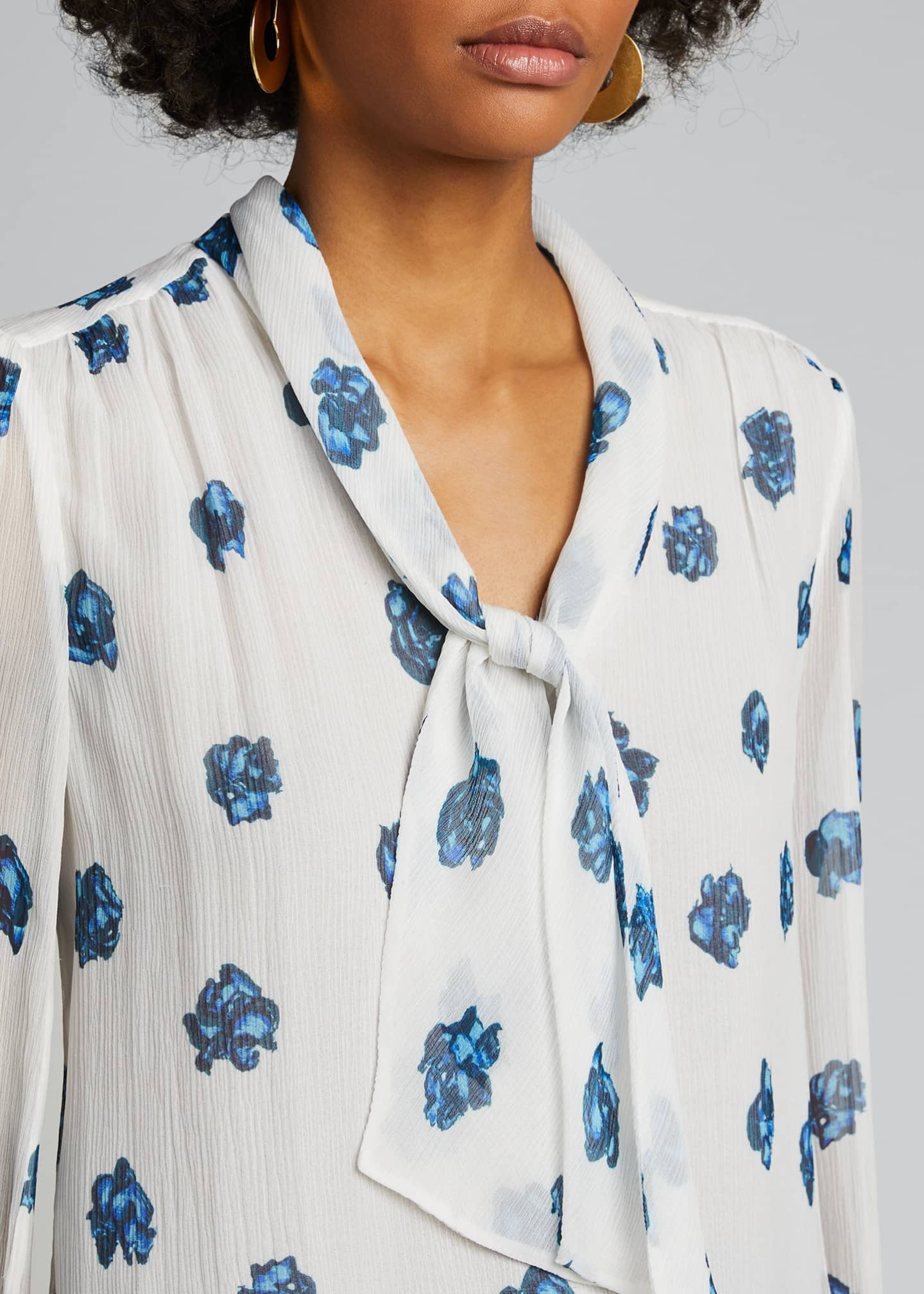 Image 4 of 5: Printed V-Neck Long-Sleeve Tie Blouse