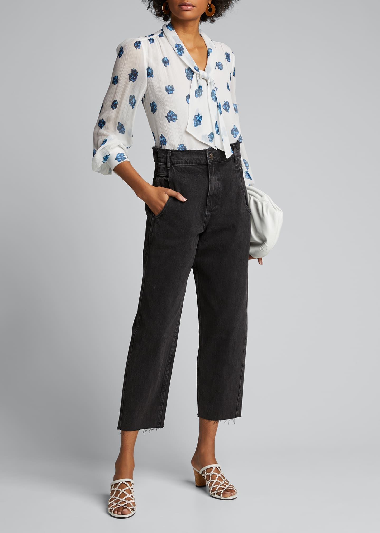 Image 1 of 5: Printed V-Neck Long-Sleeve Tie Blouse