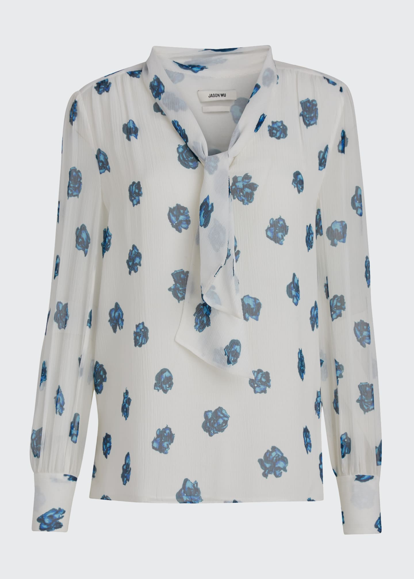 Image 5 of 5: Printed V-Neck Long-Sleeve Tie Blouse