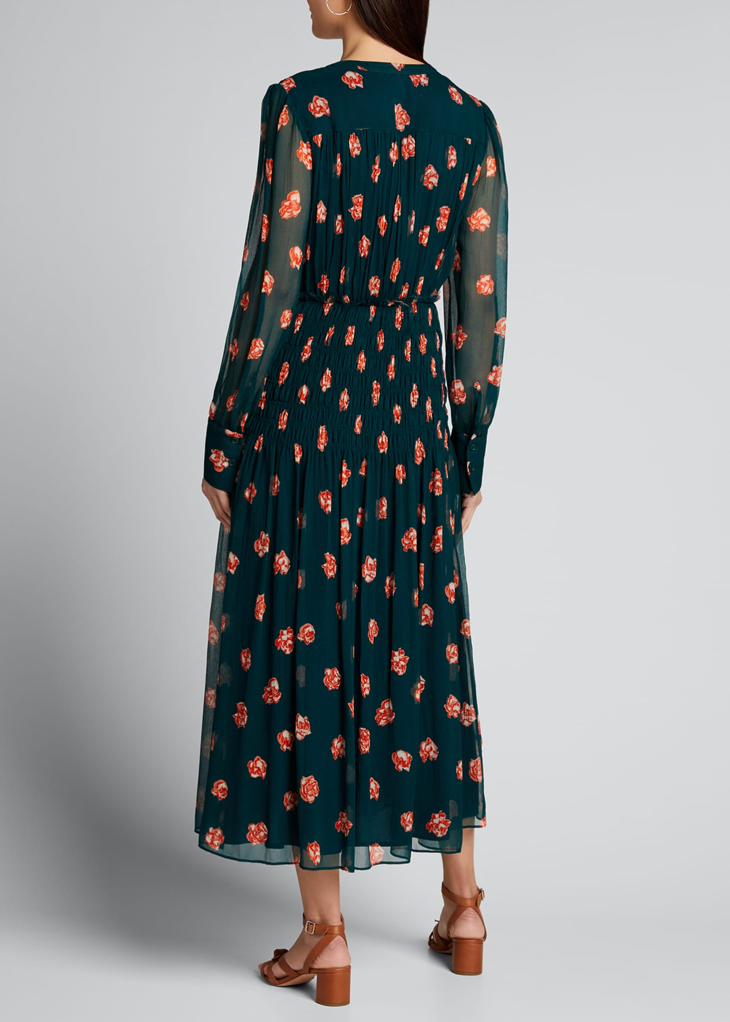 Image 2 of 5: Printed Long-Sleeve V-Neck Smocked Waist Dress