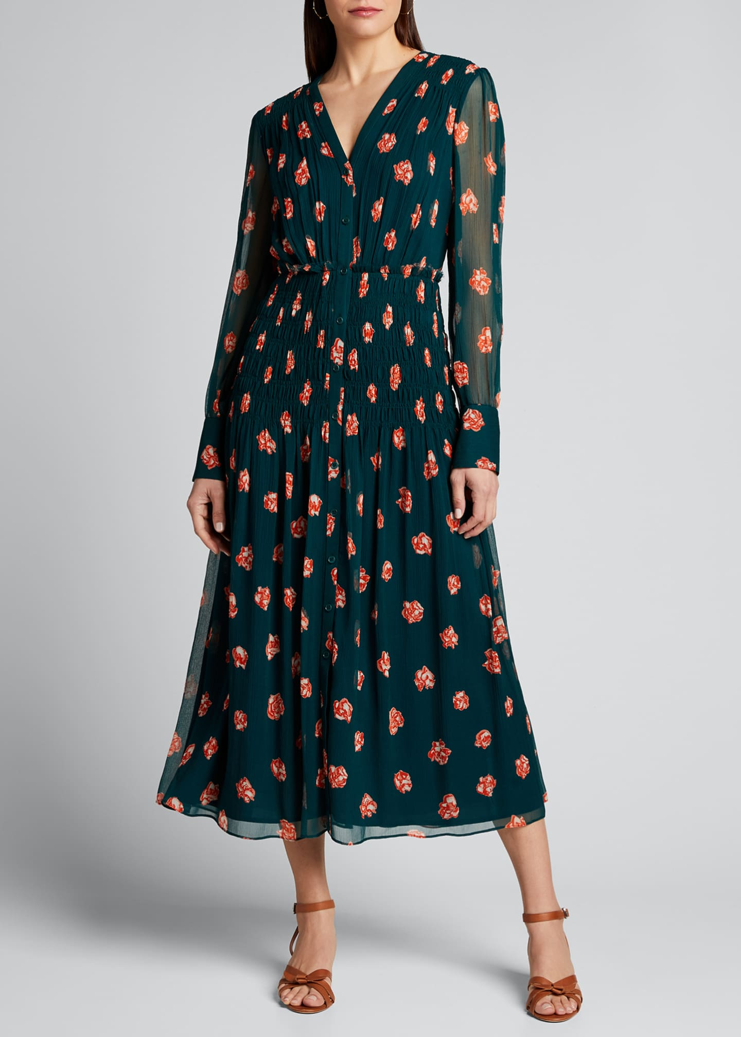 Image 3 of 5: Printed Long-Sleeve V-Neck Smocked Waist Dress