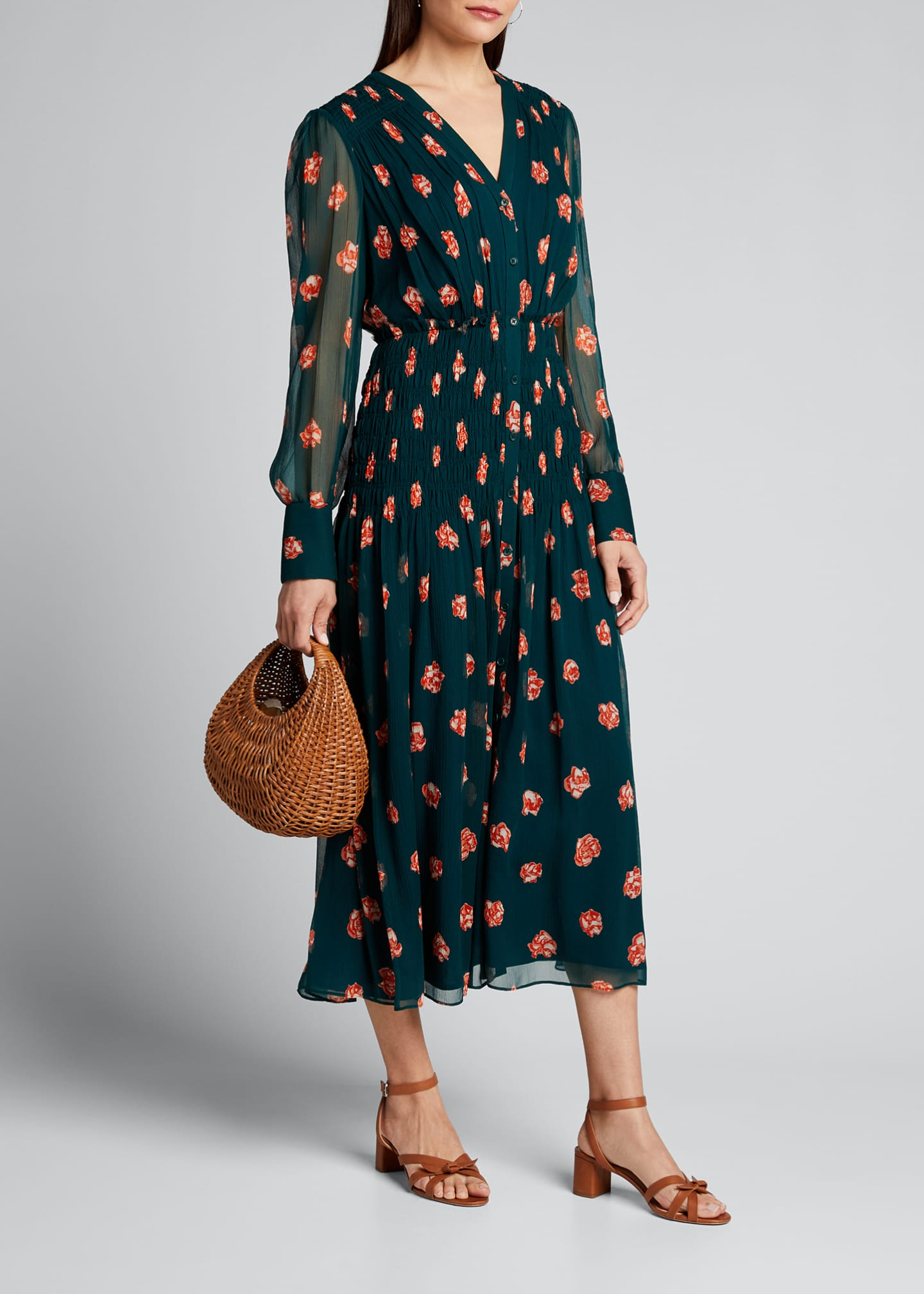 Printed Long-Sleeve V-Neck Smocked Waist Dress