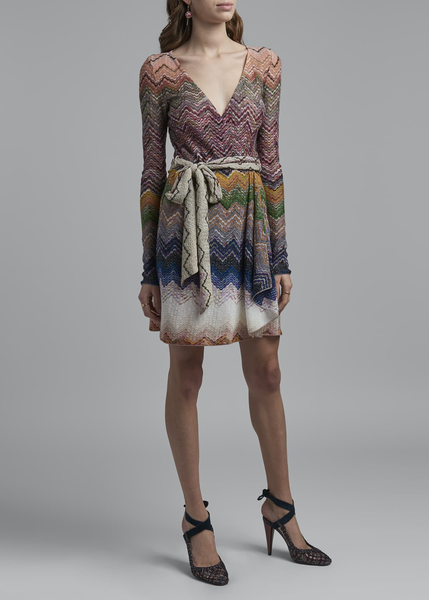 Image 3 of 4: Zigzag Tie-Neck Dress