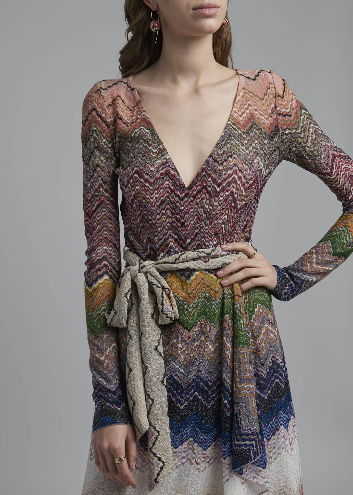 Image 4 of 4: Zigzag Tie-Neck Dress