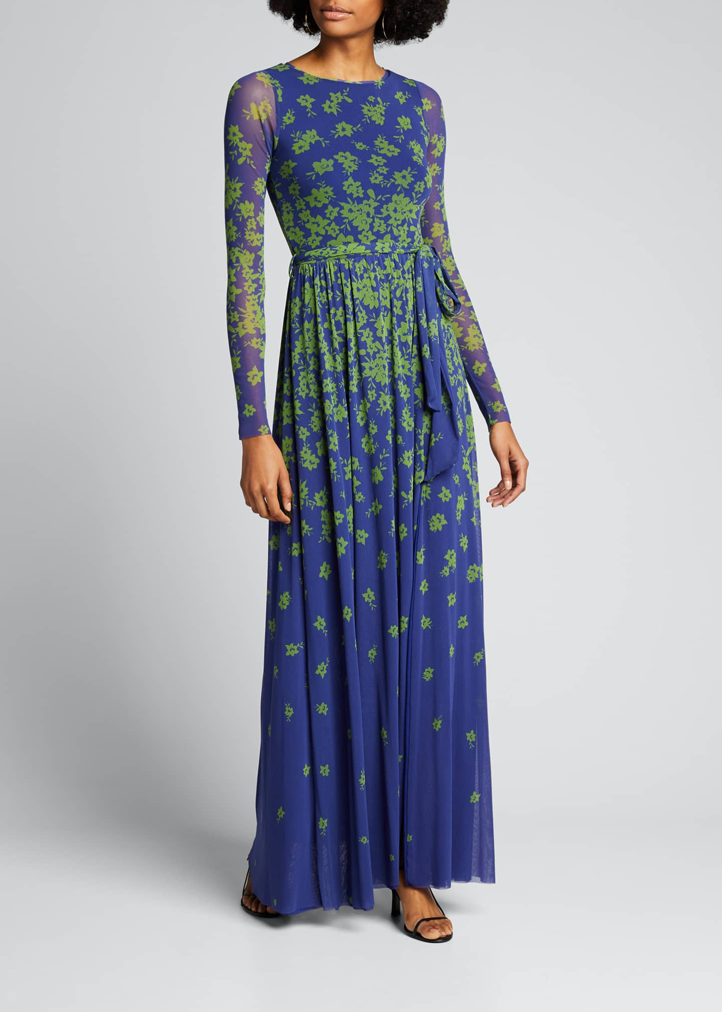 Image 3 of 5: Floral Degrade Long-Sleeve Cocktail Dress