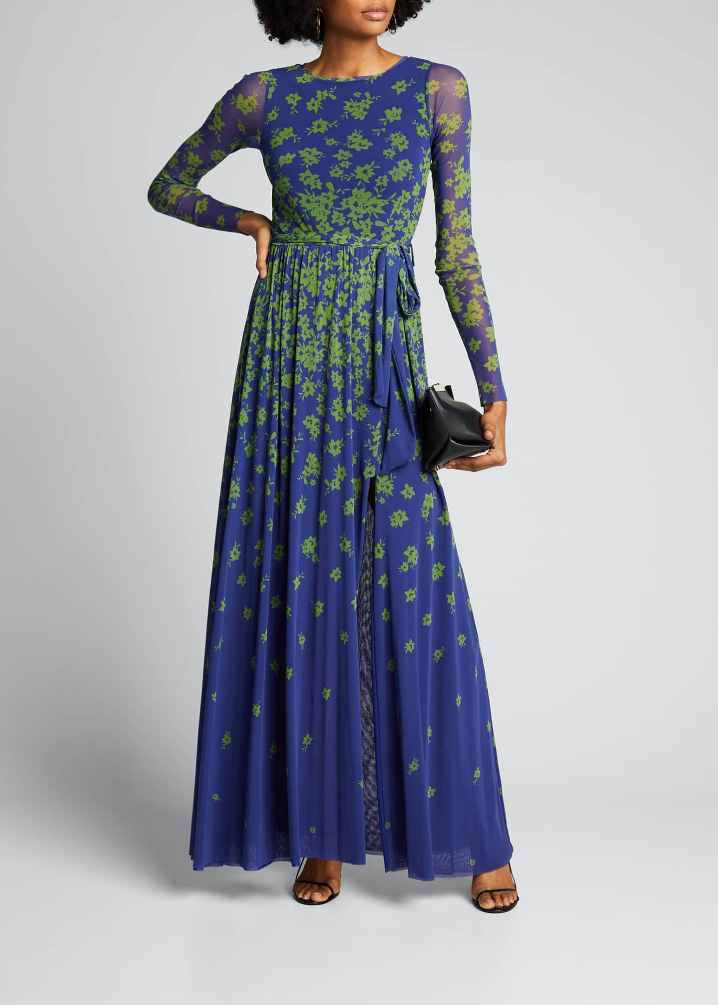 Image 1 of 5: Floral Degrade Long-Sleeve Cocktail Dress