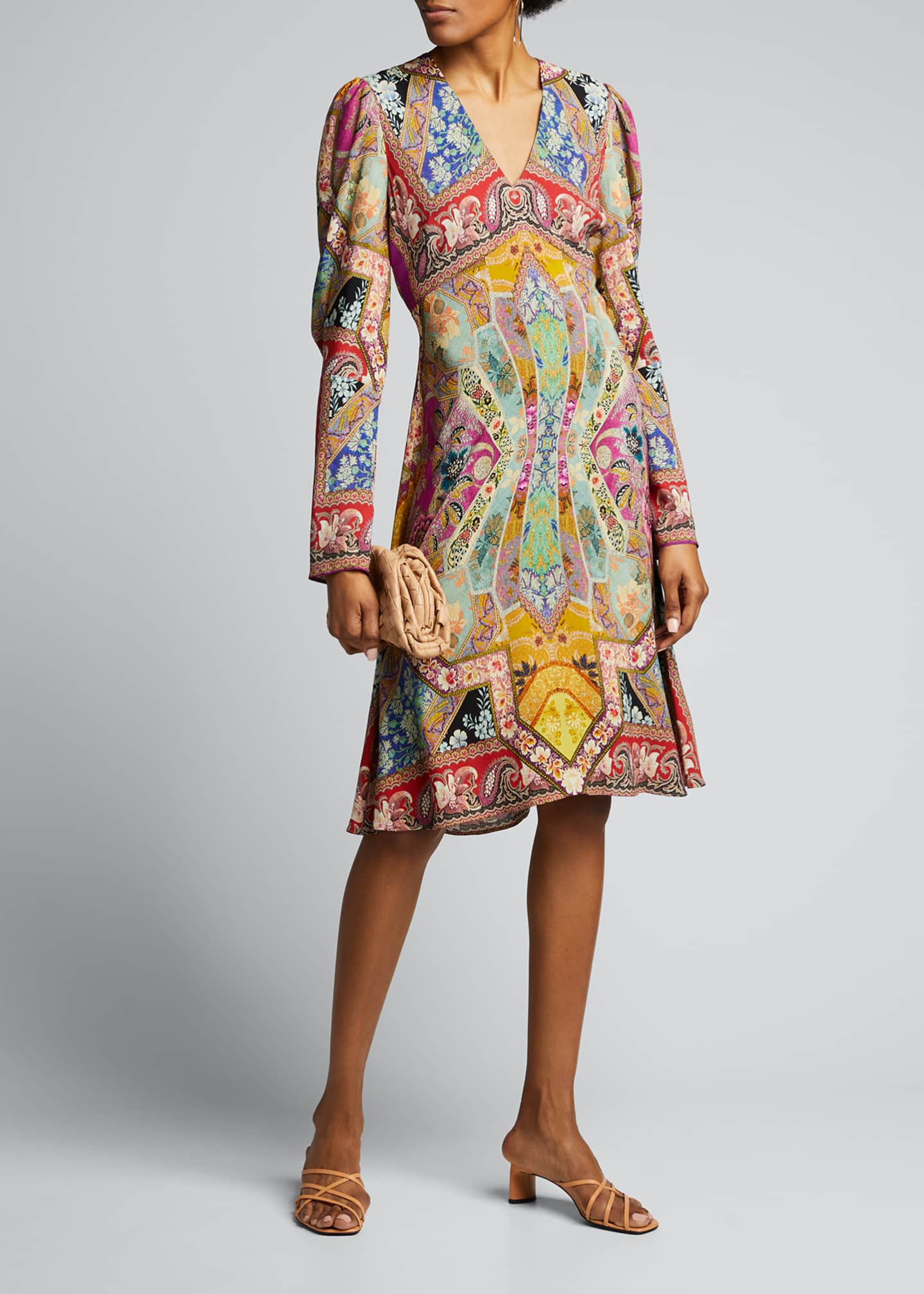 Image 1 of 5: Stained Glass-Print Jersey Dress