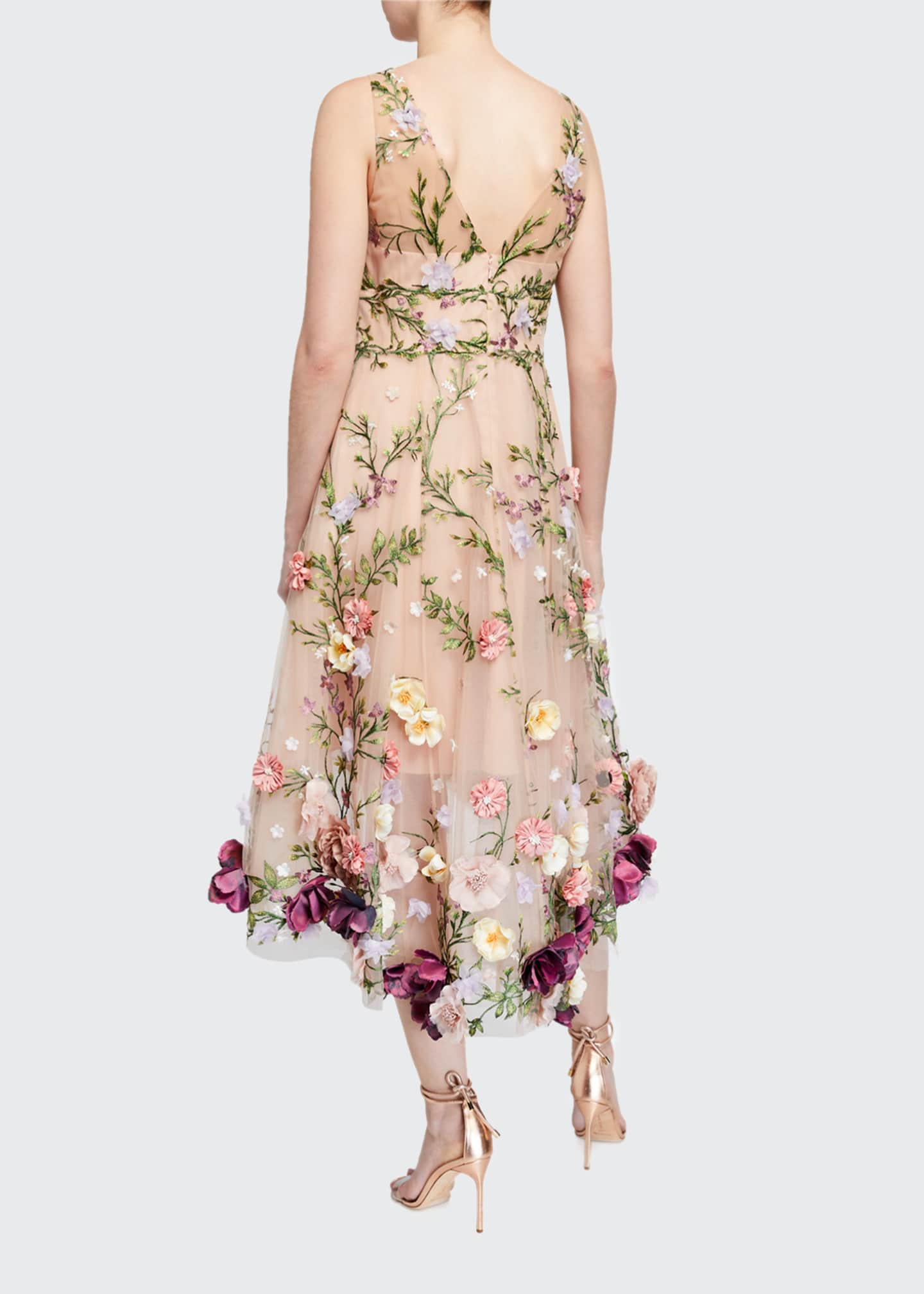 Image 2 of 2: V-Neck Embroidered High-Low Dress w/ 3D Flowers