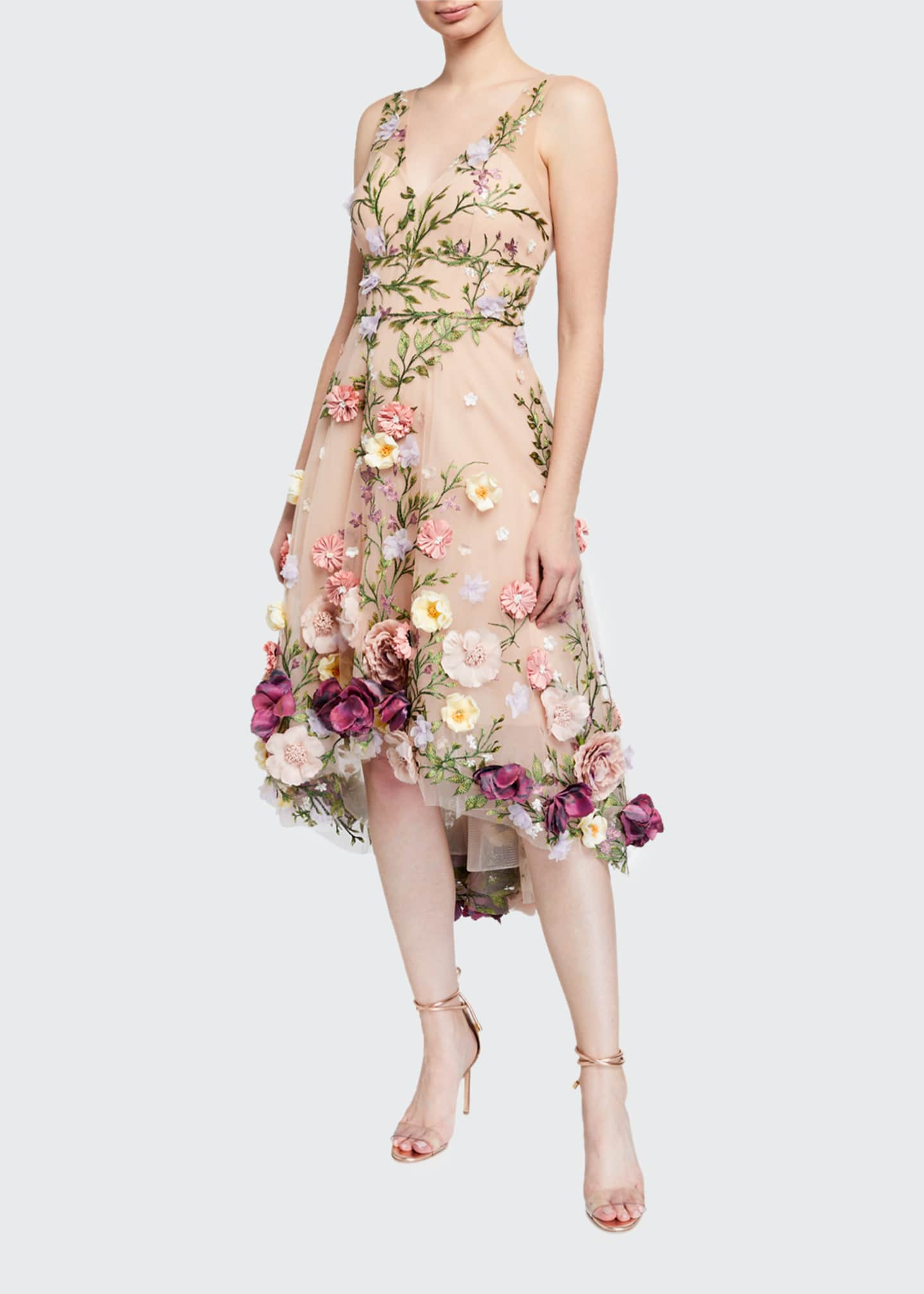 Image 1 of 2: V-Neck Embroidered High-Low Dress w/ 3D Flowers