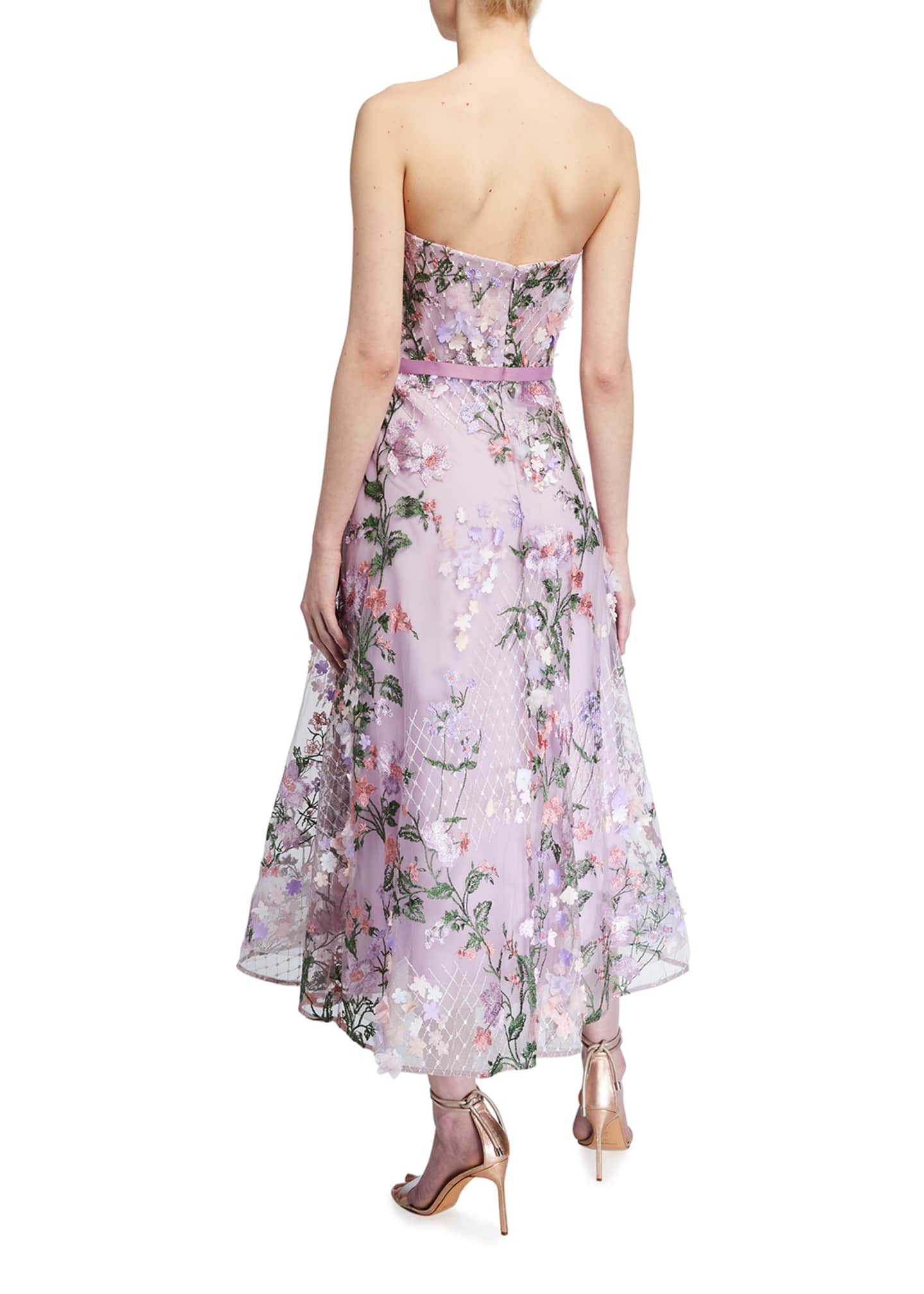 Image 2 of 2: Strapless Sweetheart Lattice Embroidered Dress w/ 3D Flowers