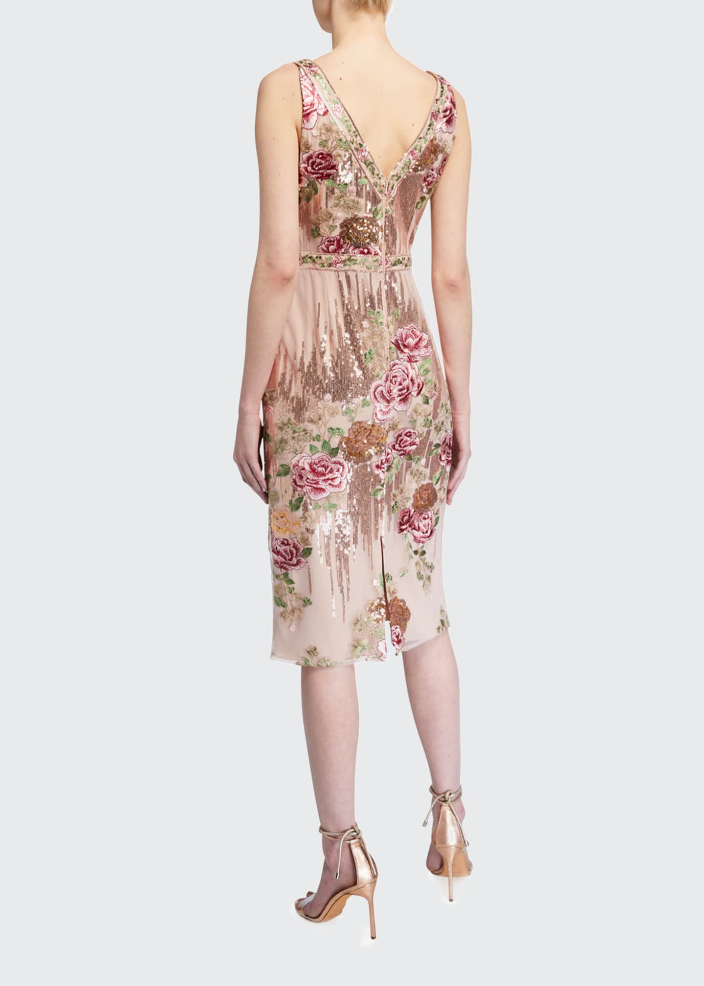 Image 2 of 2: Sleeveless Floral Embroidered V-Neck Sequin Sheath Dress