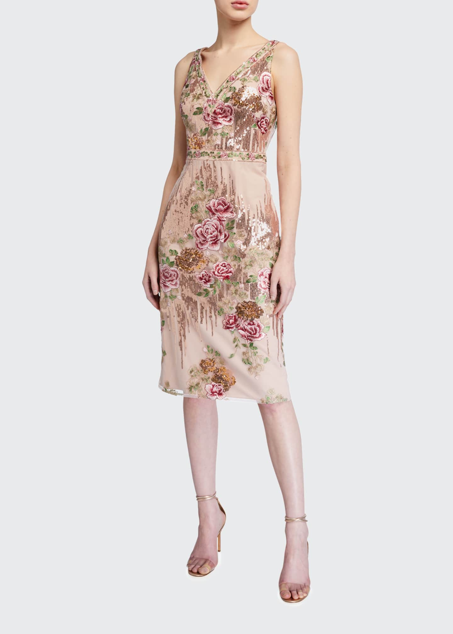 Image 1 of 2: Sleeveless Floral Embroidered V-Neck Sequin Sheath Dress