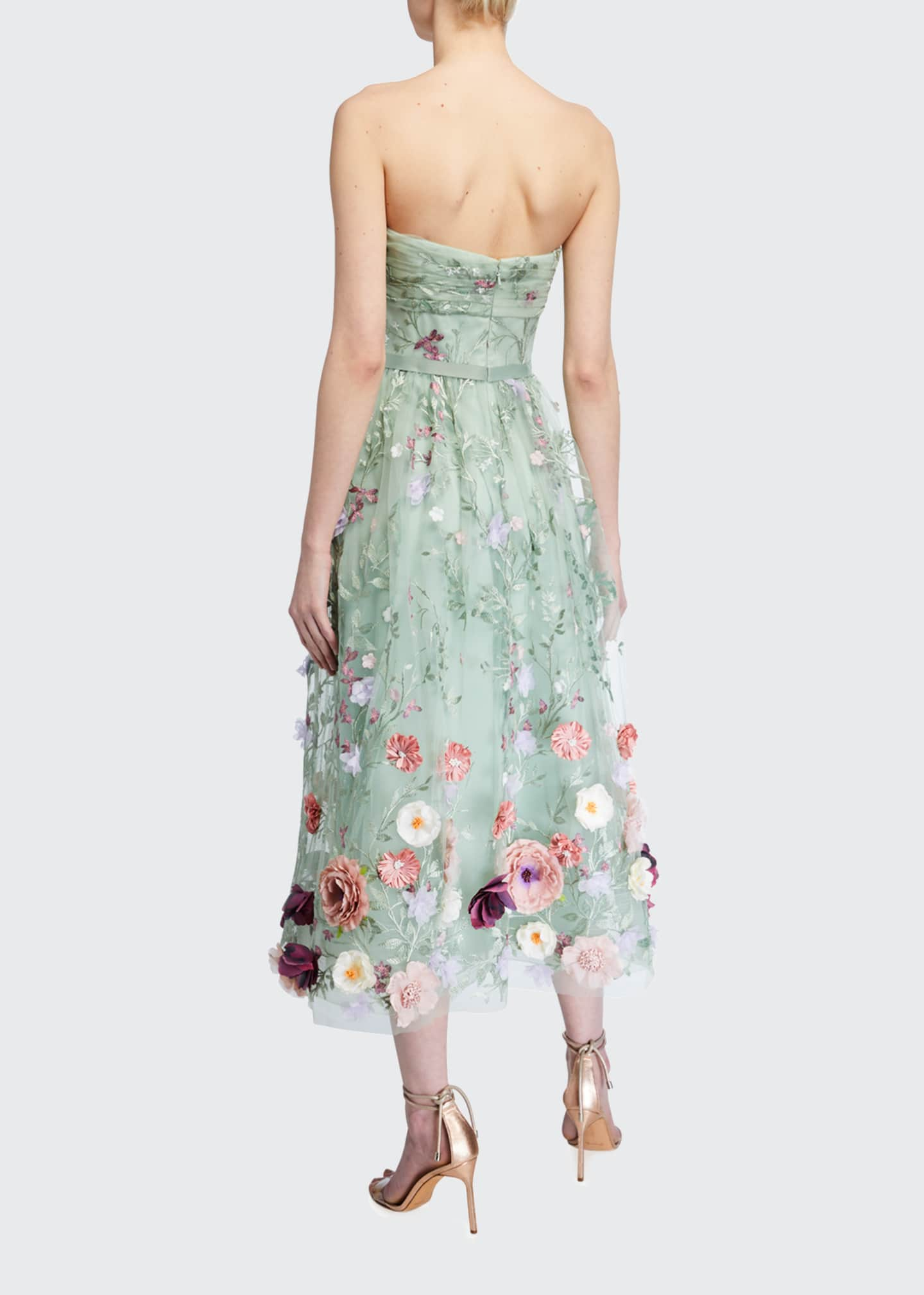 Image 2 of 2: Strapless Embroidered Draped-Bodice Midi Dress