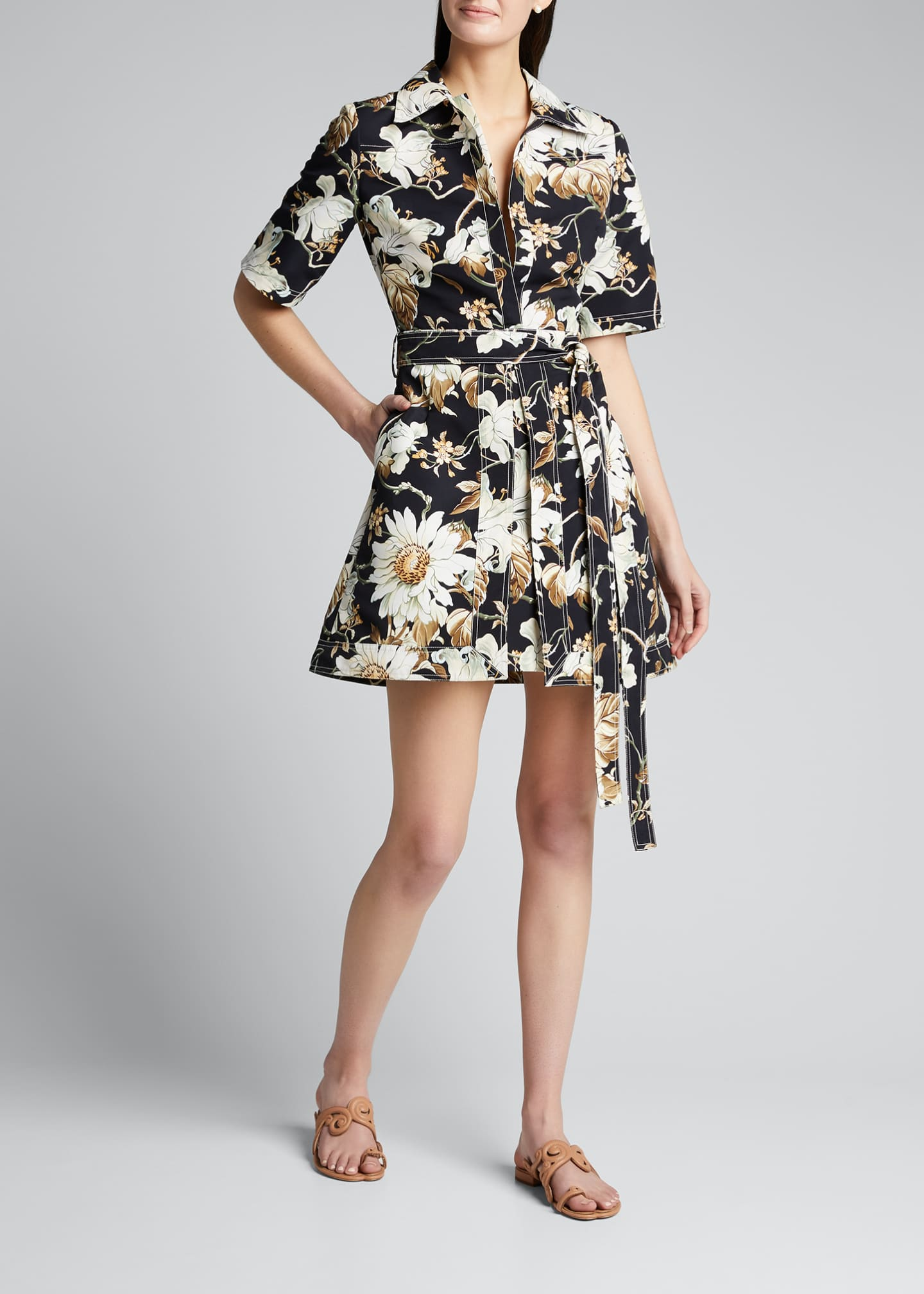 Image 3 of 4: Floral Print Cotton Day Dress