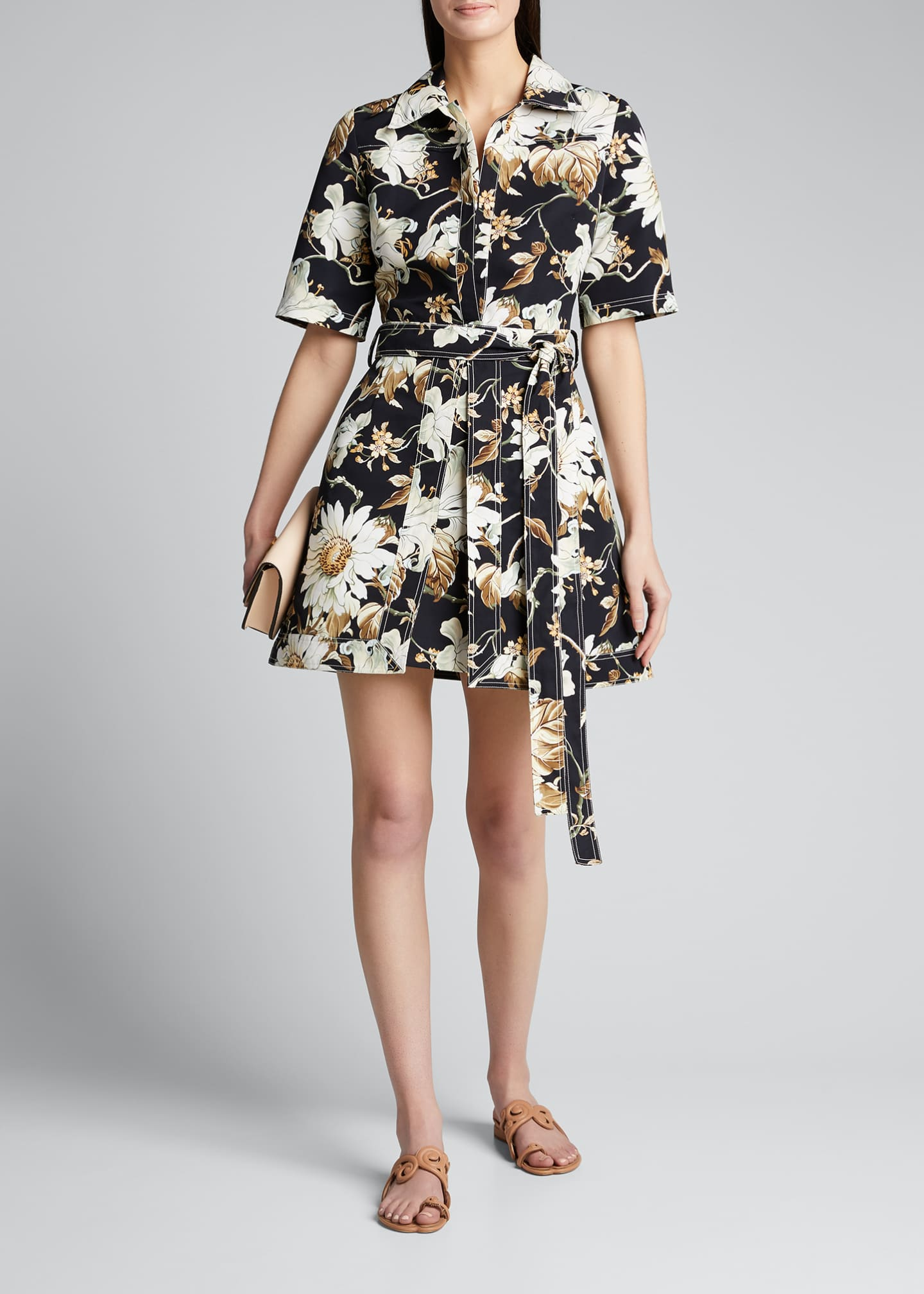 Image 1 of 4: Floral Print Cotton Day Dress