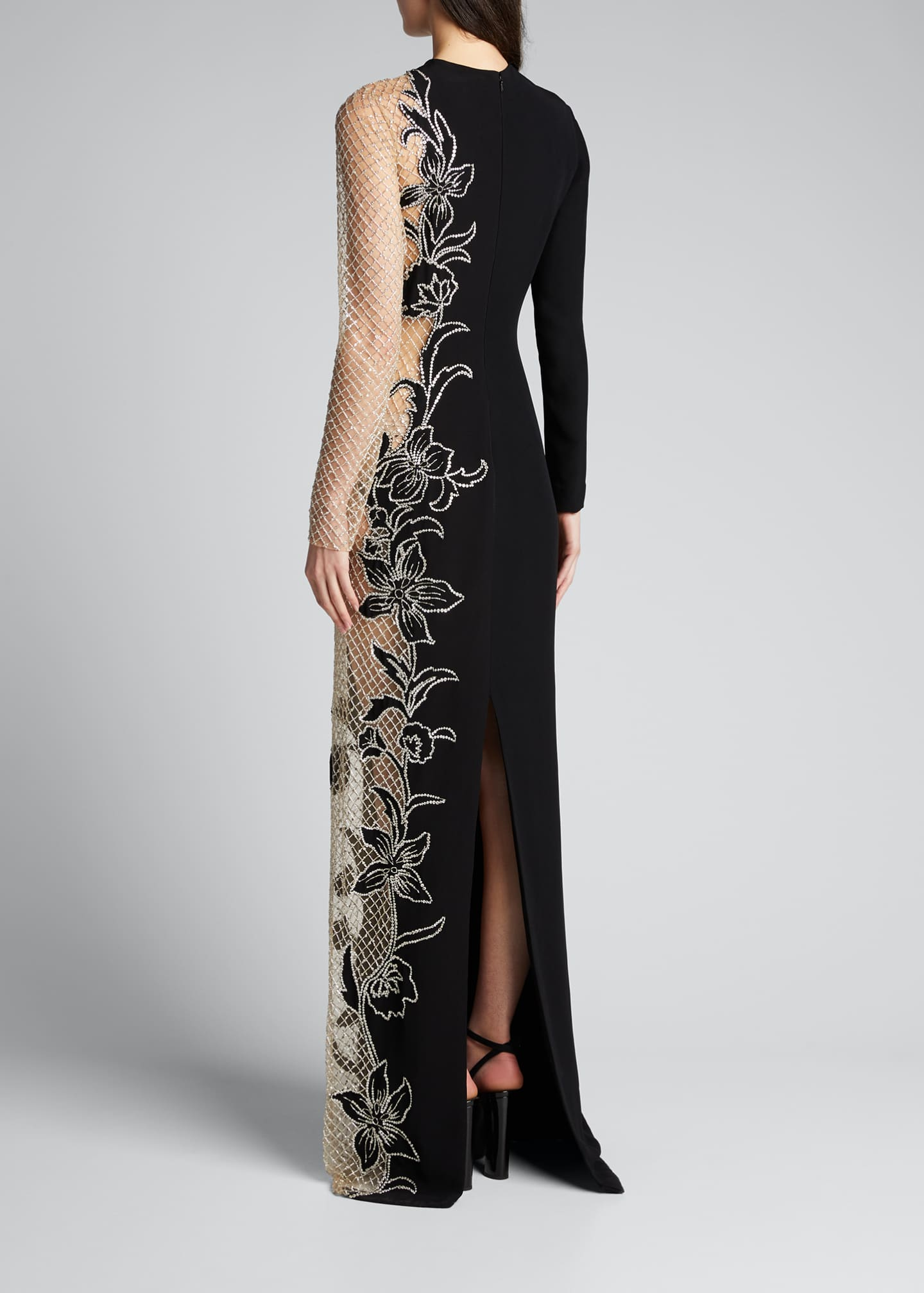 Image 2 of 5: Long-Sleeve One-Sided Netted Embroidered Gown