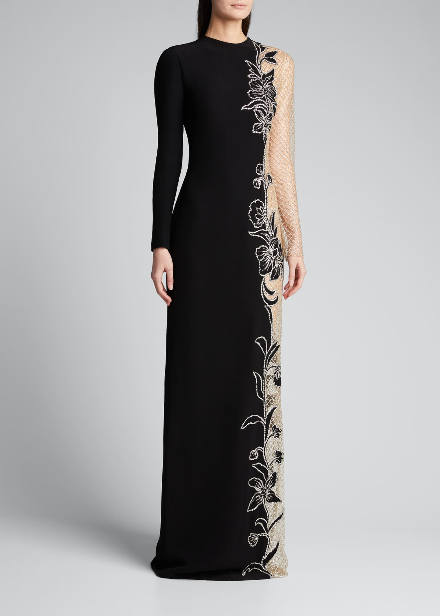 Image 3 of 5: Long-Sleeve One-Sided Netted Embroidered Gown