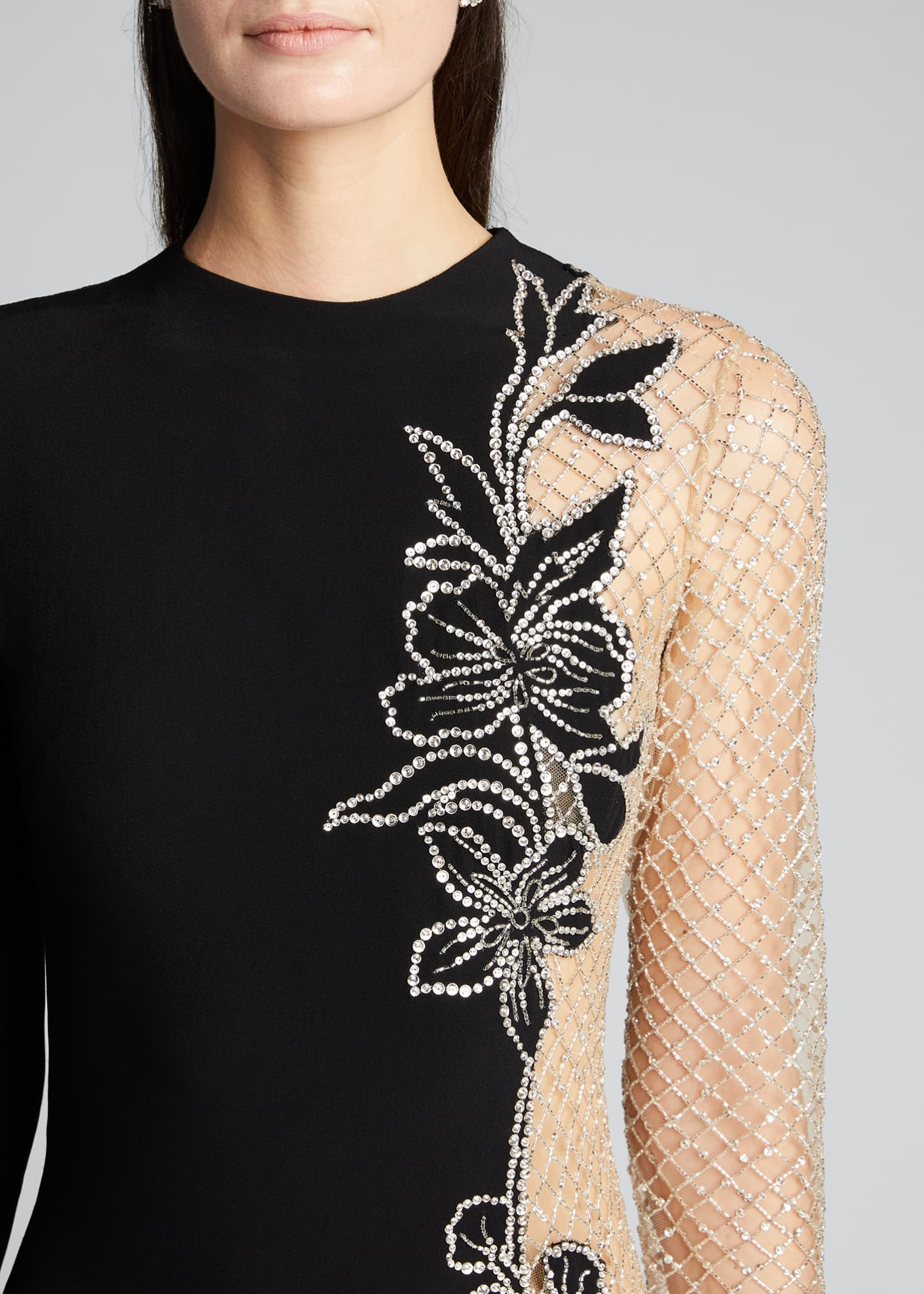 Image 4 of 5: Long-Sleeve One-Sided Netted Embroidered Gown