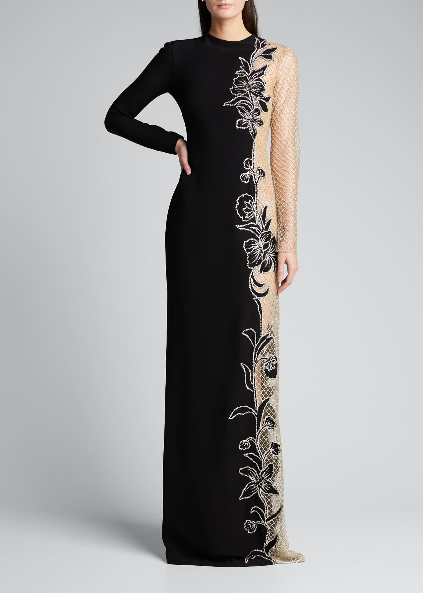 Image 1 of 5: Long-Sleeve One-Sided Netted Embroidered Gown