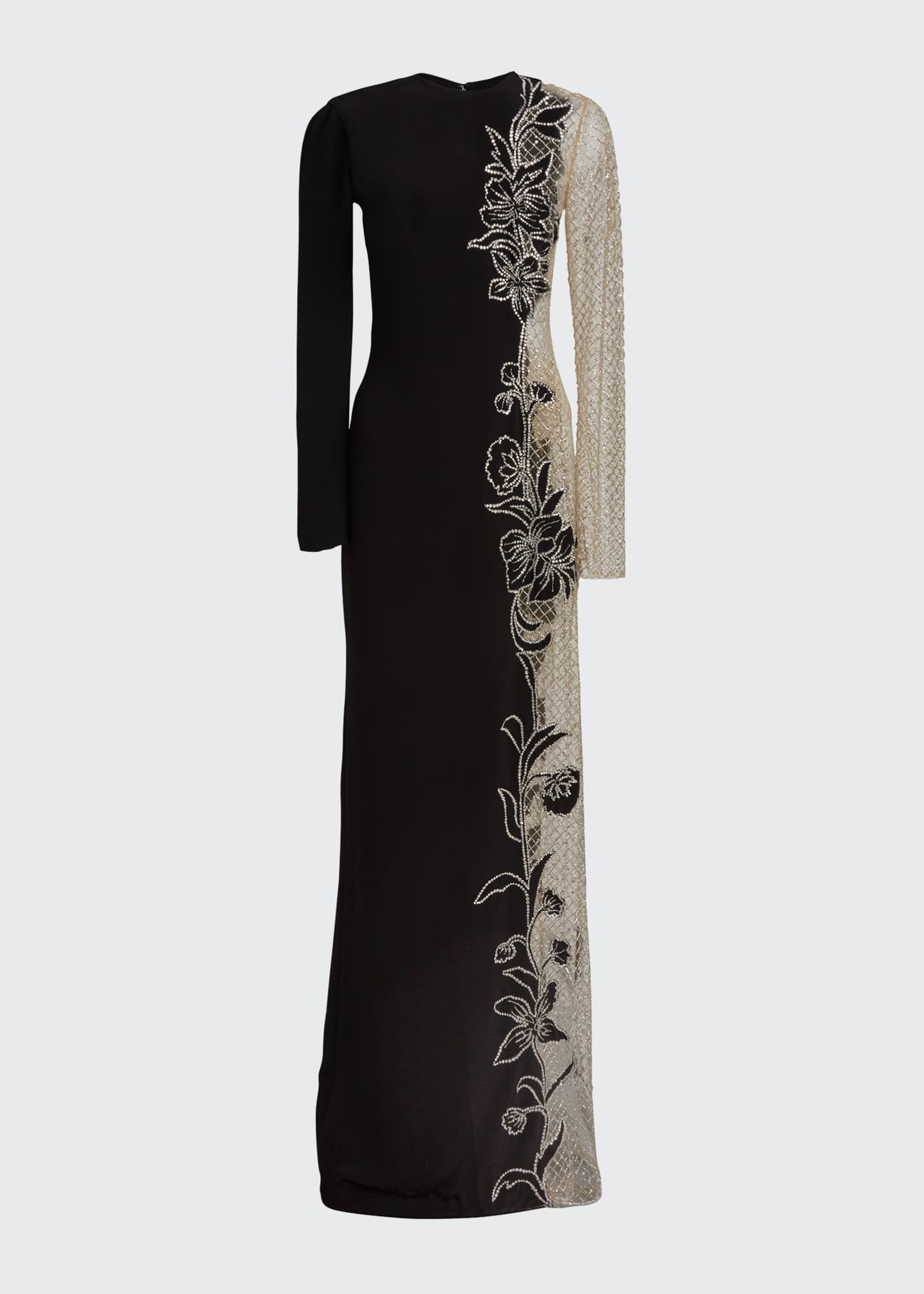 Image 5 of 5: Long-Sleeve One-Sided Netted Embroidered Gown