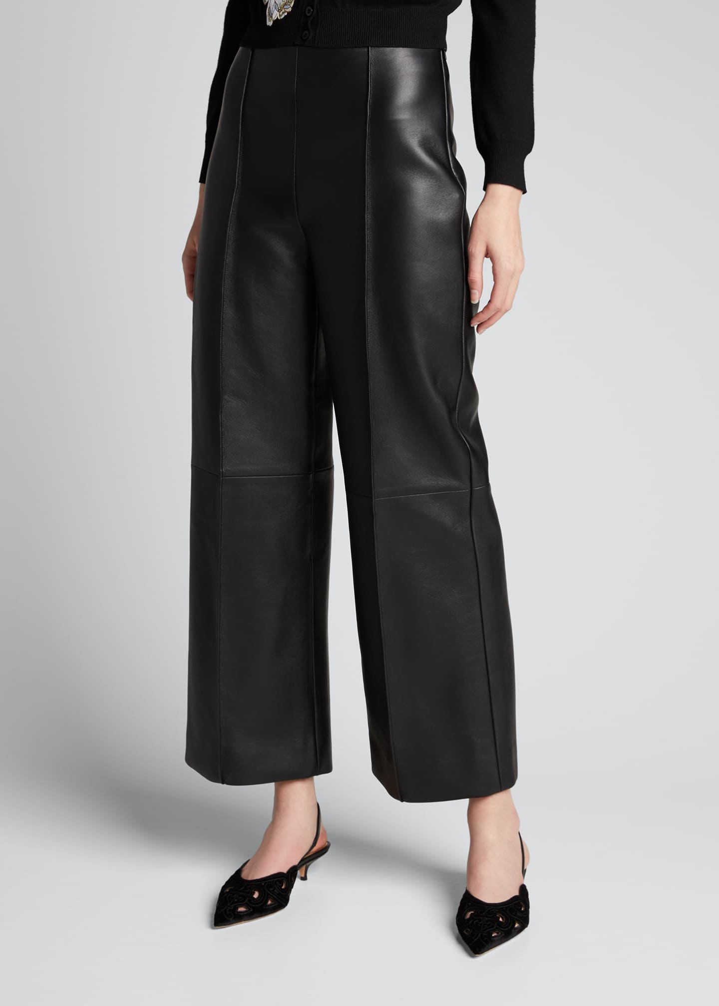 Image 3 of 5: Leather Cropped Pants