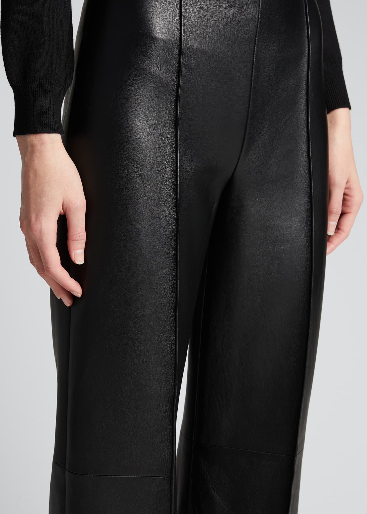 Image 4 of 5: Leather Cropped Pants