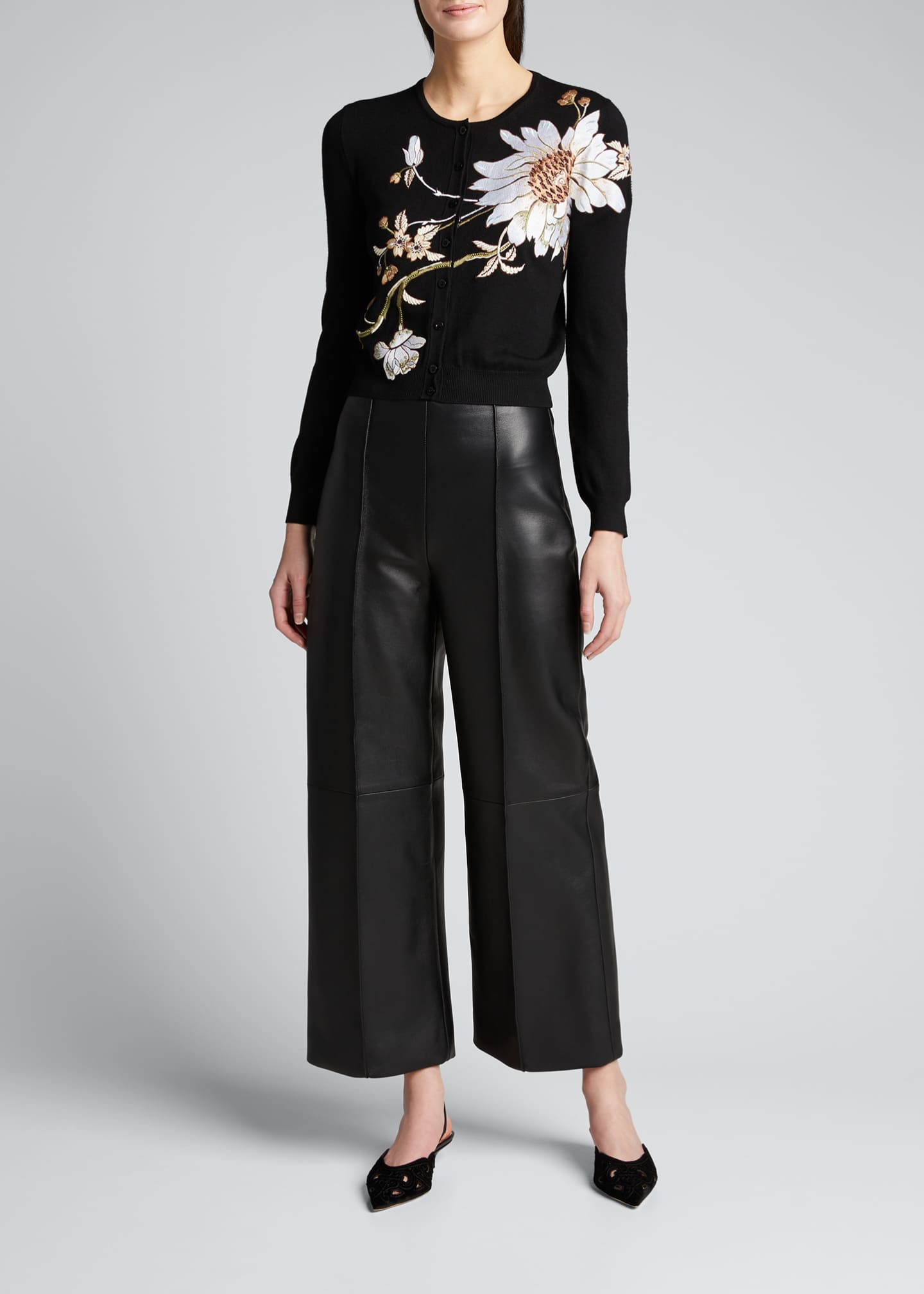 Image 1 of 5: Leather Cropped Pants