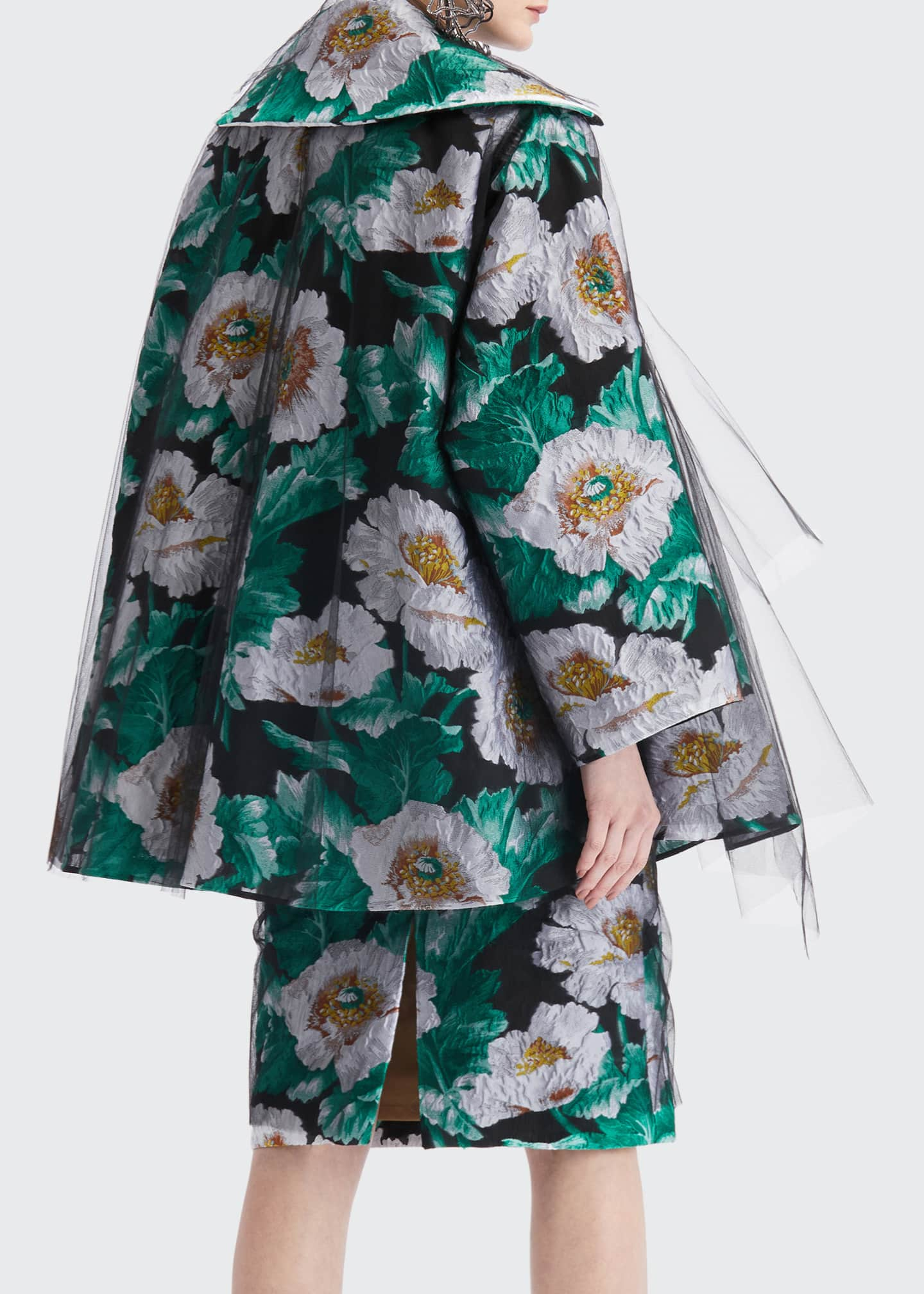 Image 2 of 4: Floral Print Tulle Coat