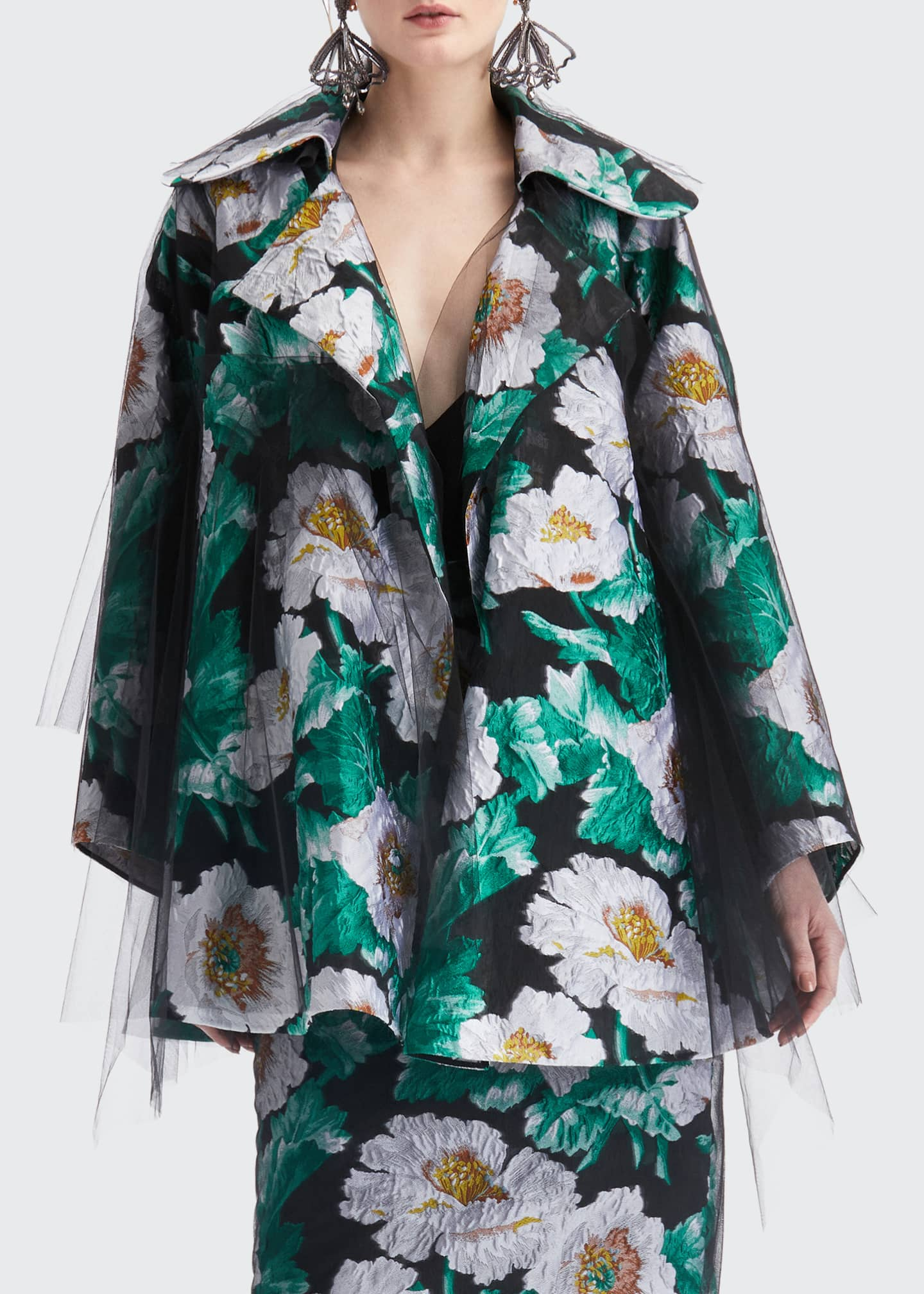 Image 3 of 4: Floral Print Tulle Coat
