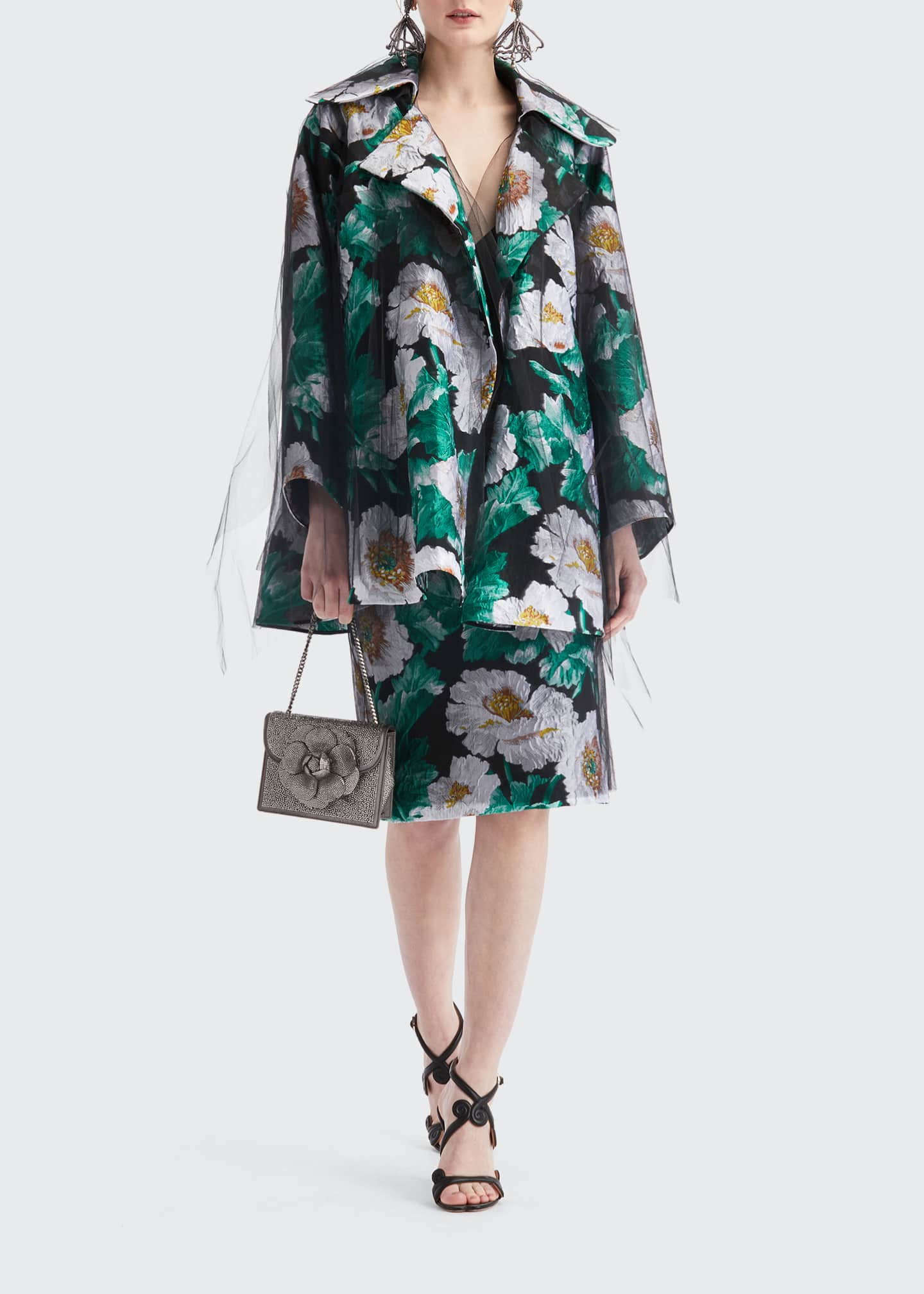 Image 1 of 4: Floral Print Tulle Coat