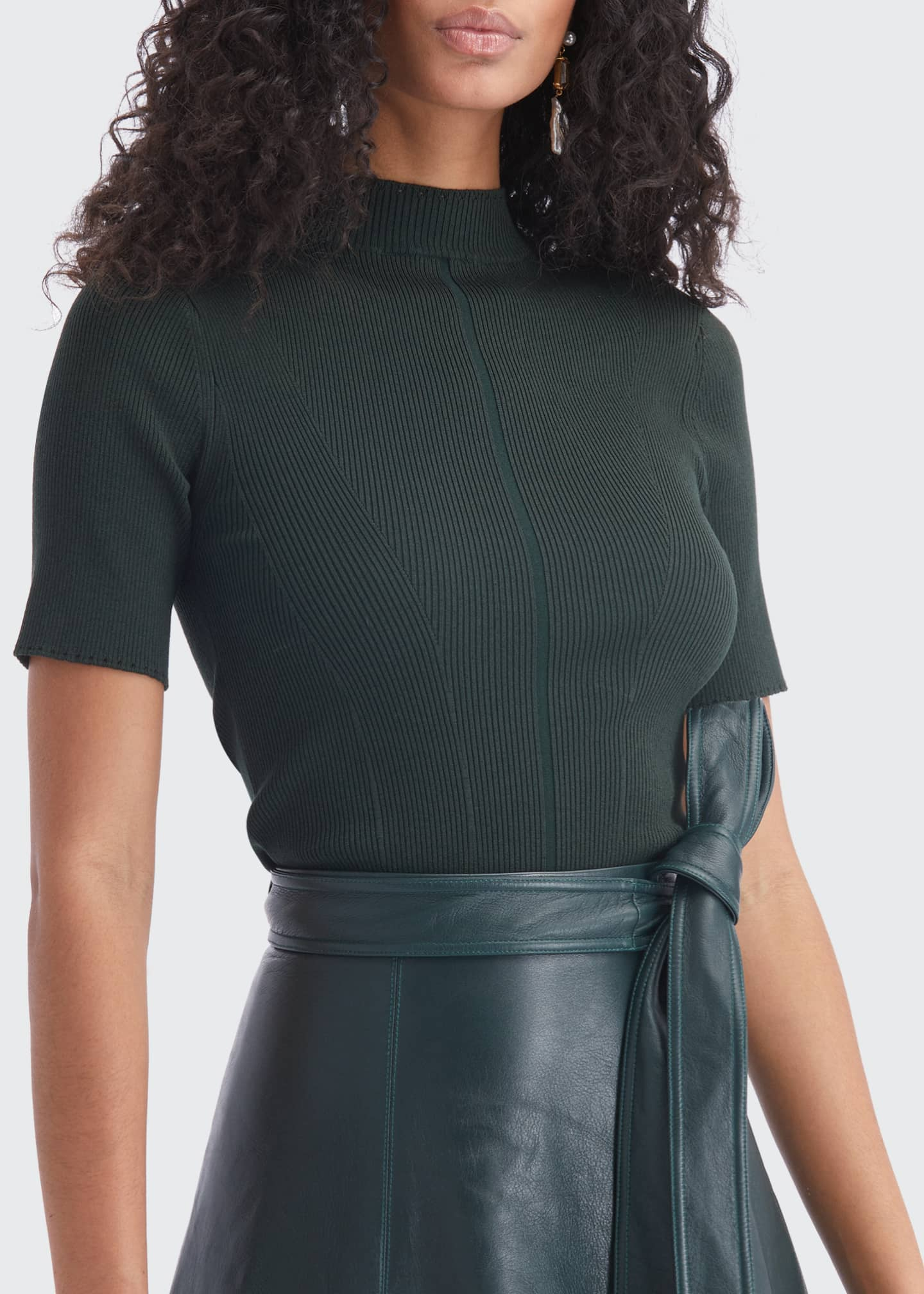 Image 3 of 5: Stretch-Silk Short-Sleeve Sweater
