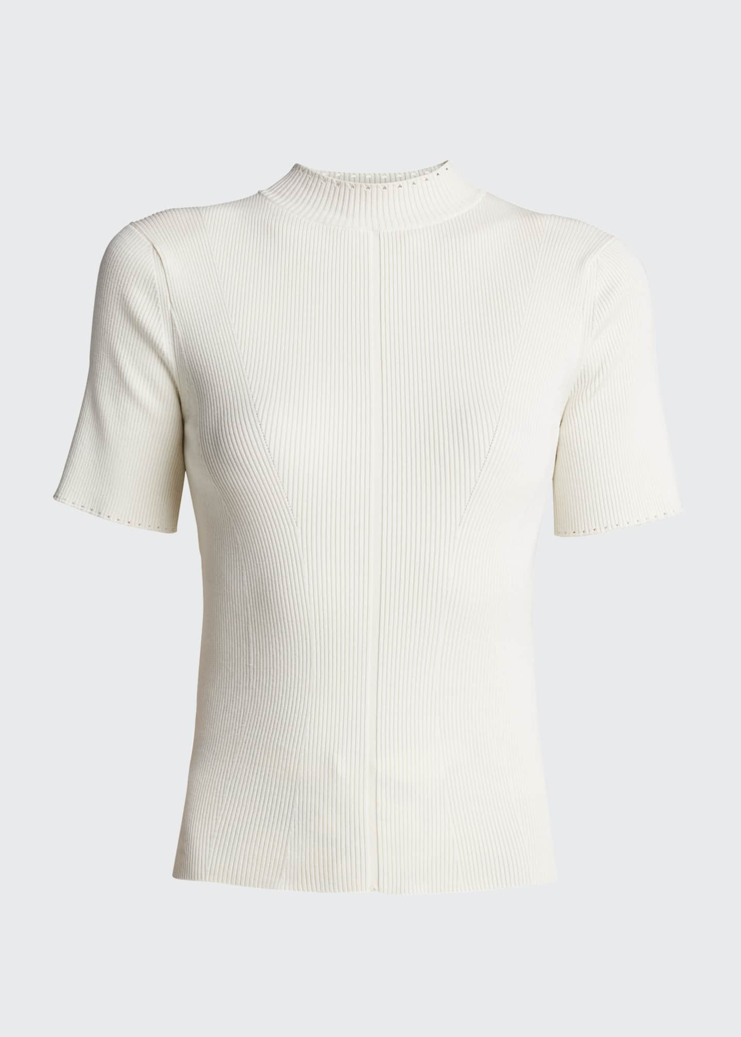 Image 5 of 5: Stretch-Silk Short-Sleeve Sweater
