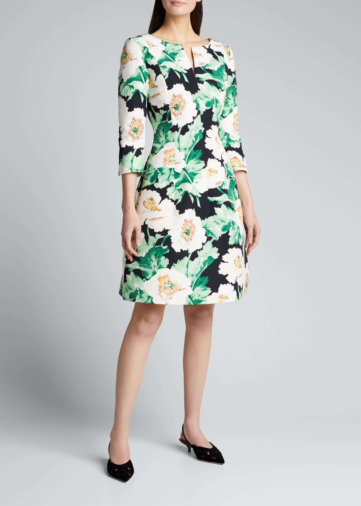 Oscar de la Renta 3/4-Sleeve Floral Dress - Bergdorf Goodman