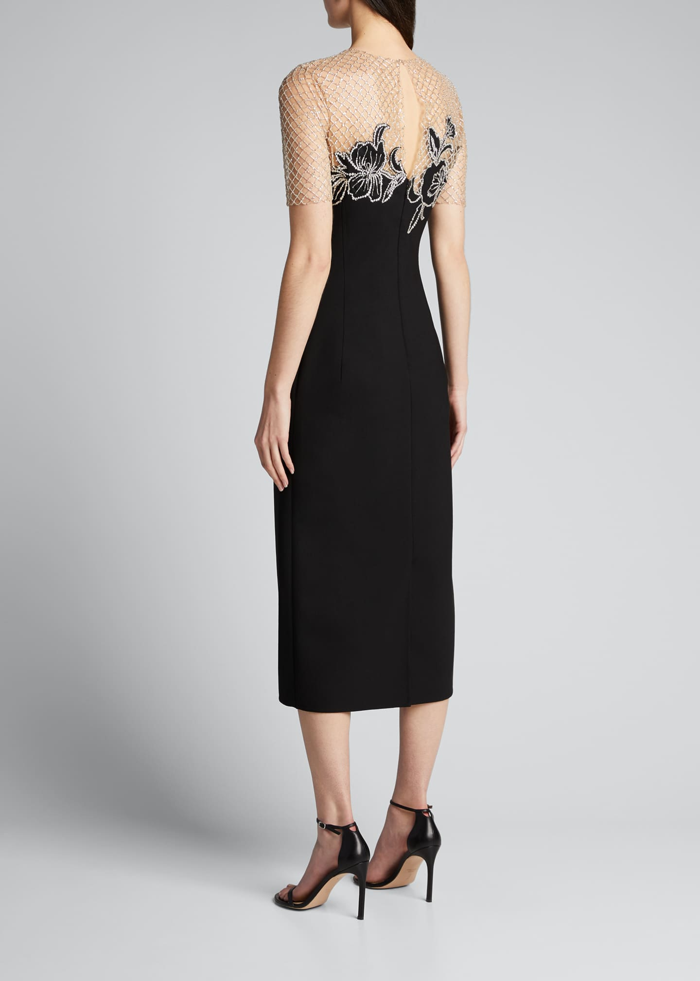 Image 2 of 5: Short-Sleeve Midi Dress w/ Embroidered Netting
