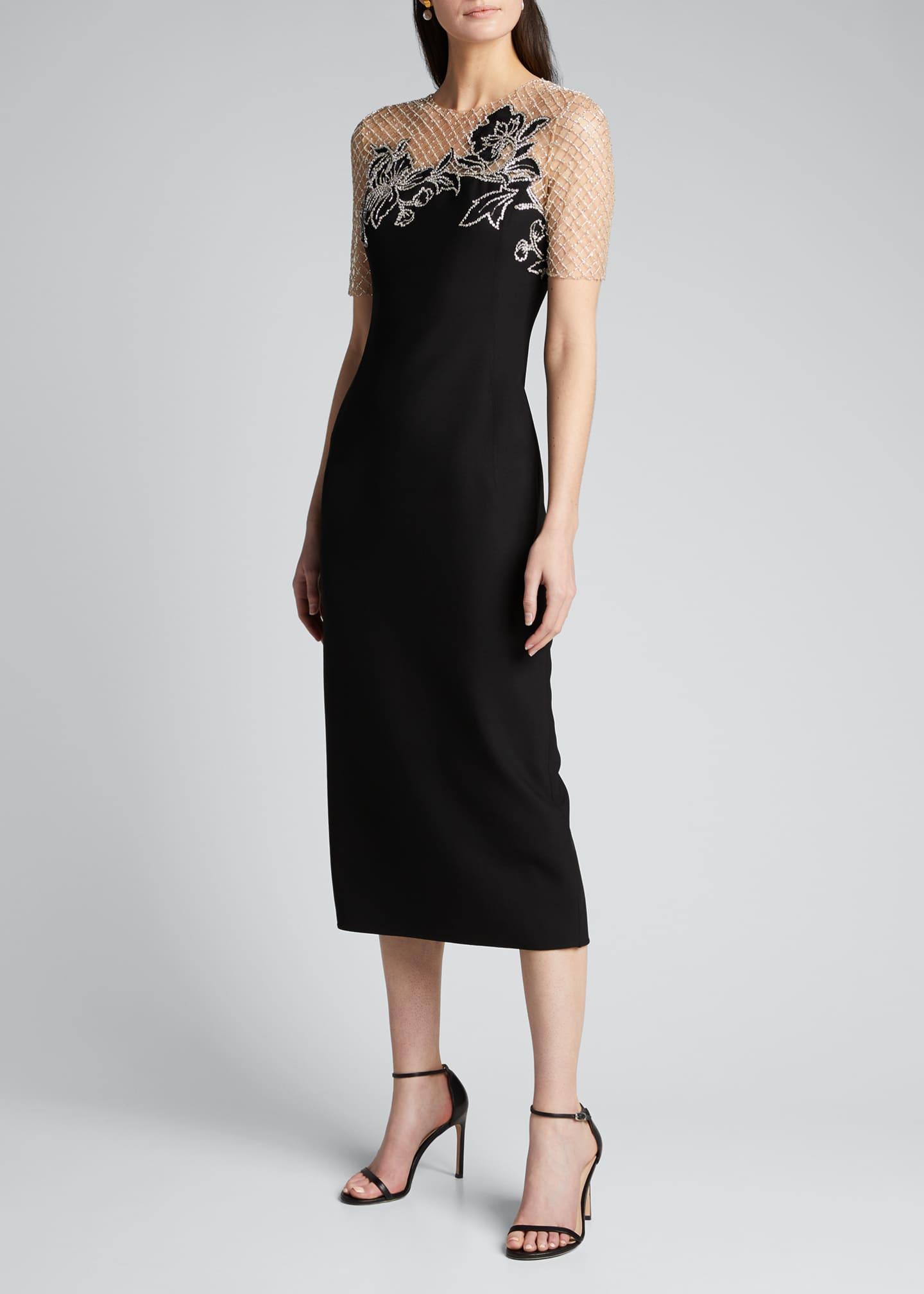 Image 3 of 5: Short-Sleeve Midi Dress w/ Embroidered Netting